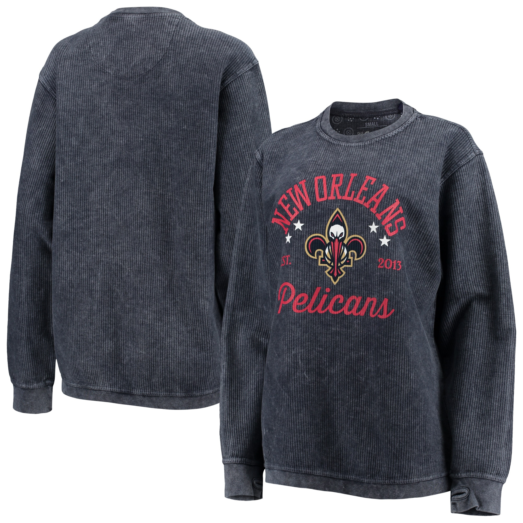 New Orleans Pelicans G-III Sports by Carl Banks Women's Slouchy Comfy Cord Crewneck Pullover Sweatshirt - Navy