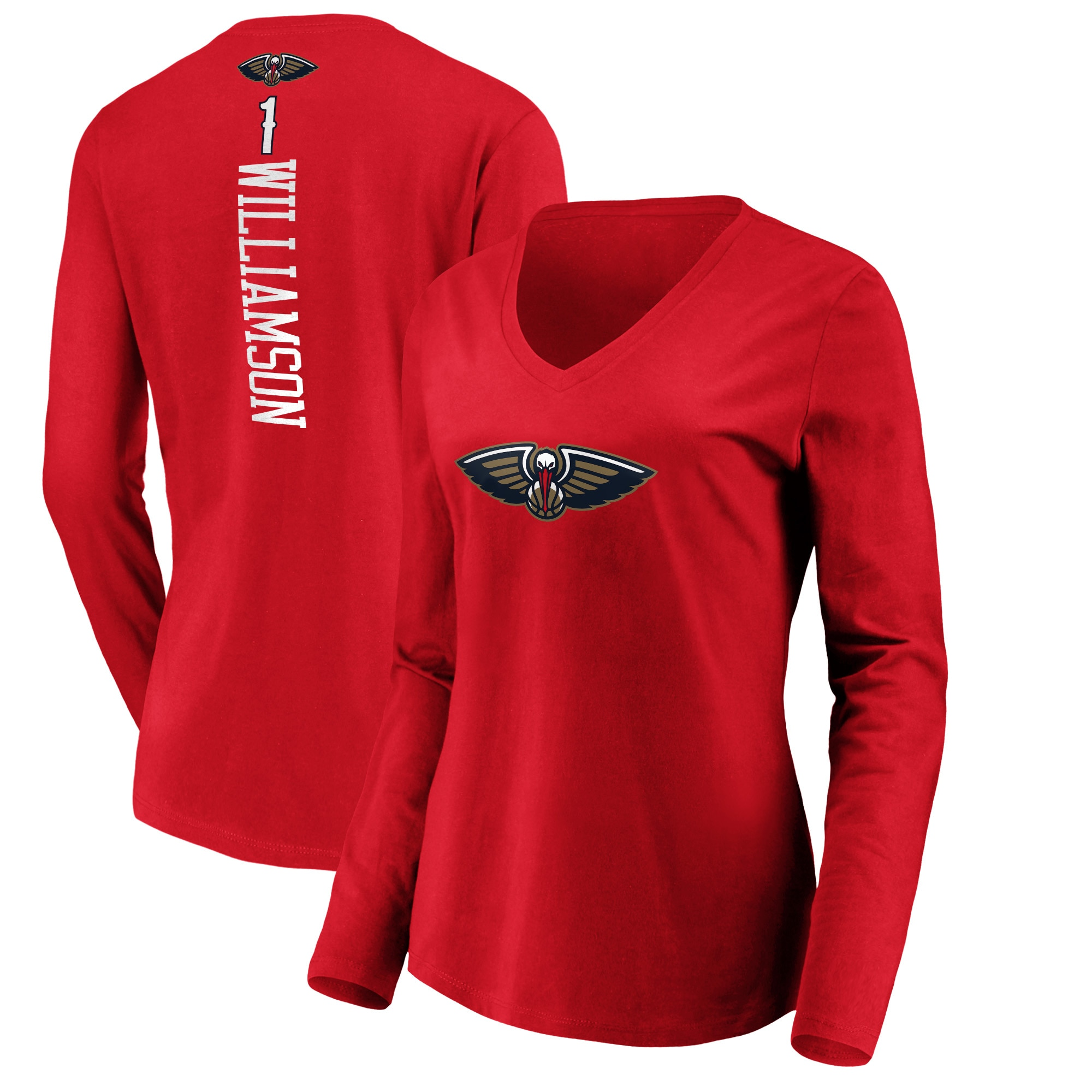 Zion Williamson New Orleans Pelicans Fanatics Branded Women's Playmaker Name & Number Long Sleeve V-Neck T-Shirt - Red