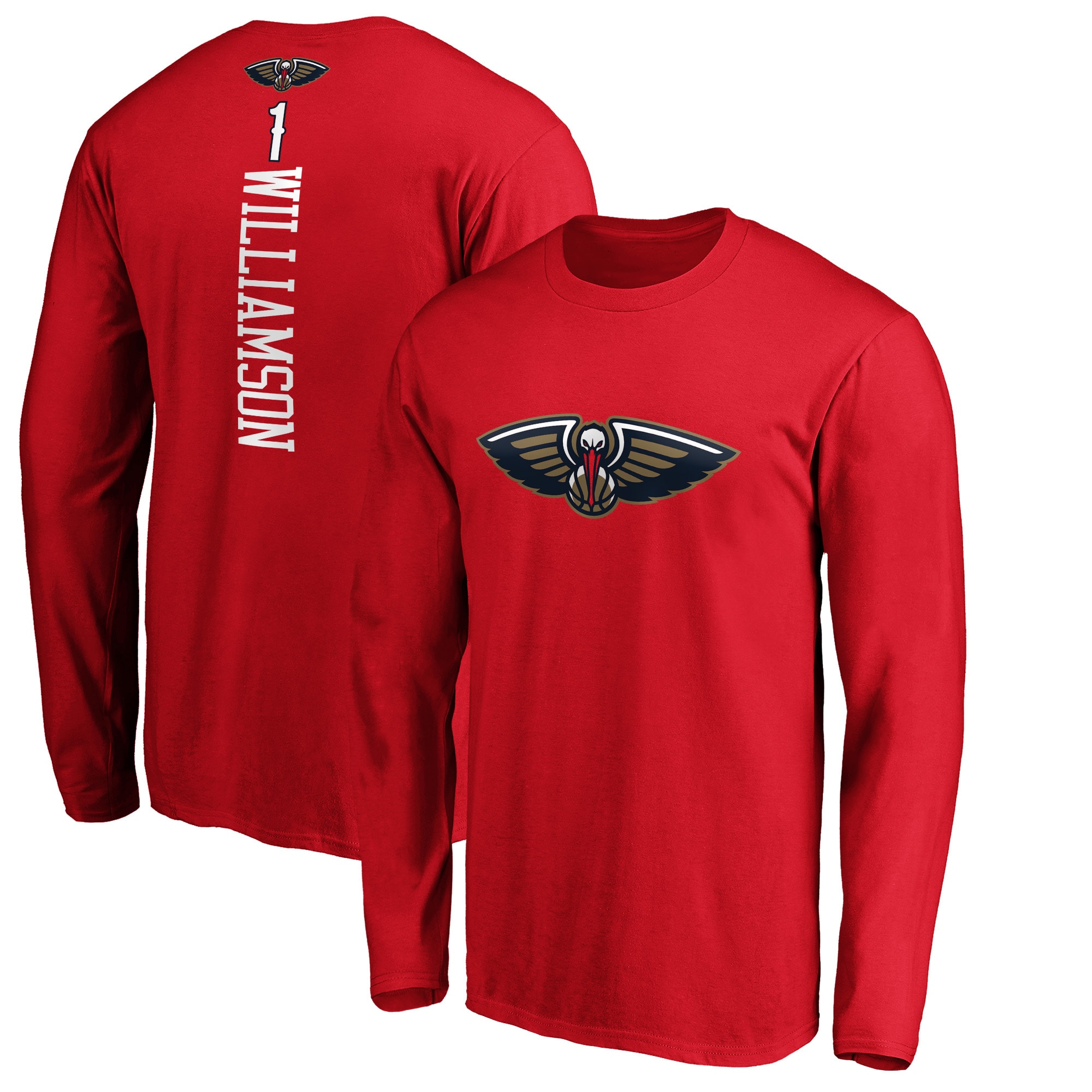 Zion Williamson New Orleans Pelicans Fanatics Branded Playmaker Name & Number Long Sleeve T-Shirt - Red
