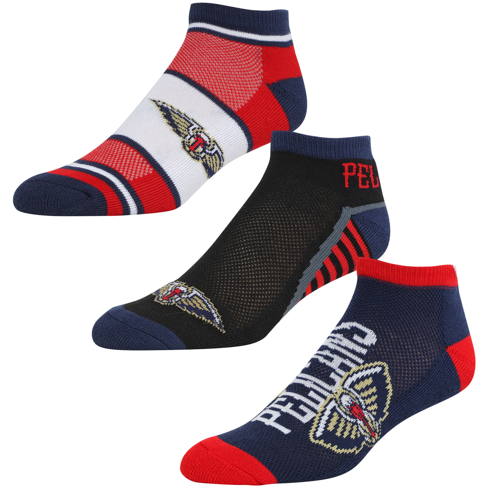 New Orleans Pelicans For Bare Feet Three-Pack Show Me The Money Ankle Socks