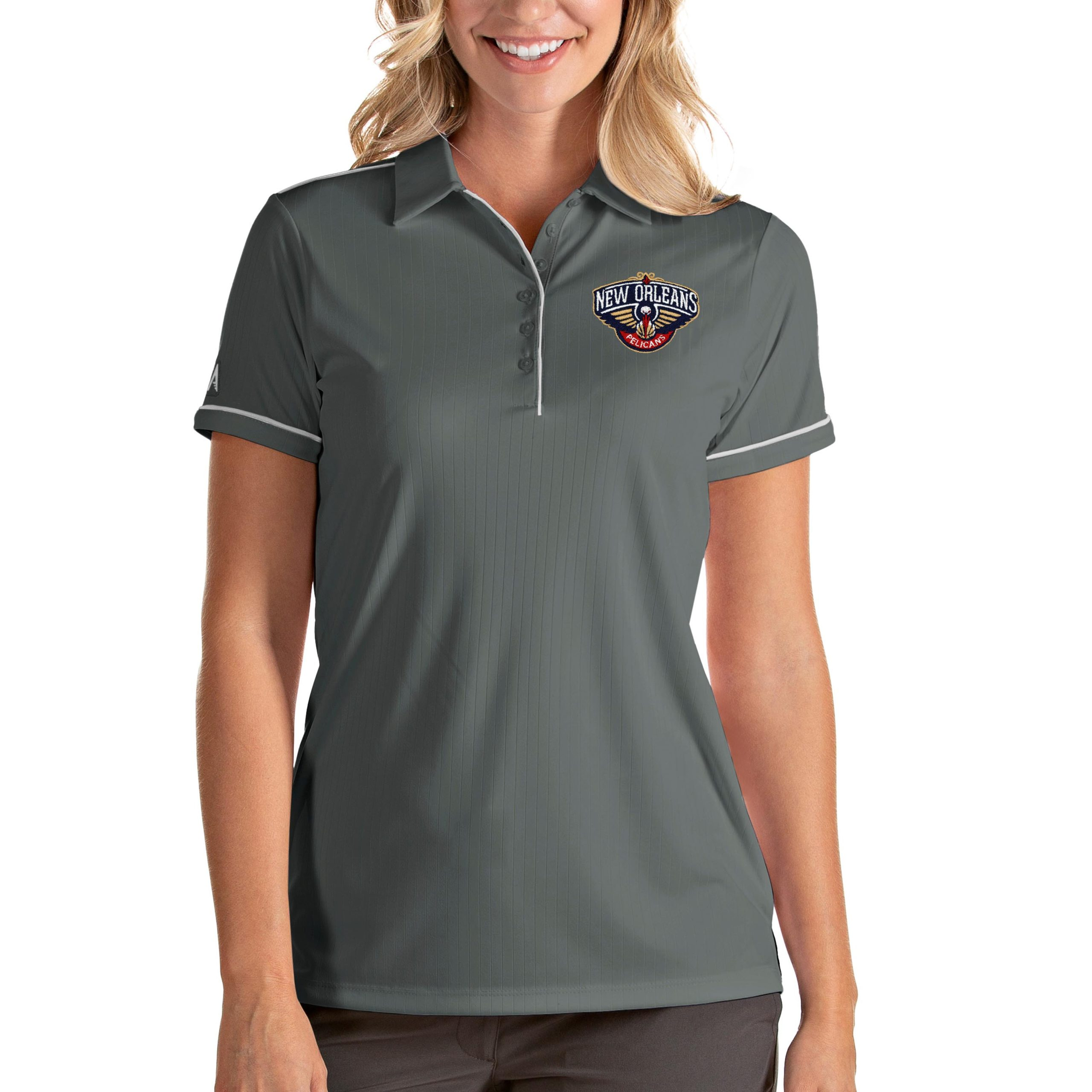 New Orleans Pelicans Antigua Women's Salute Polo - Gray/White