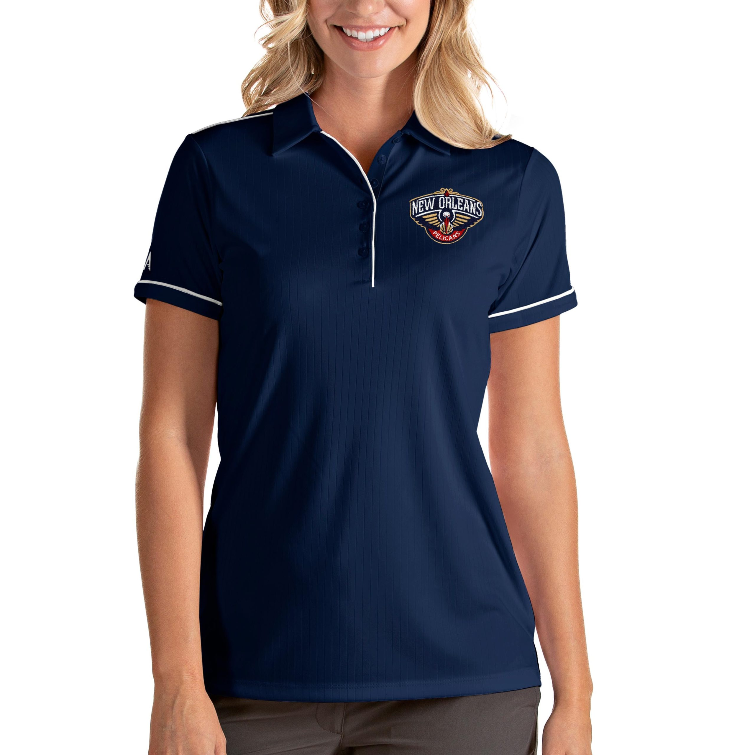 New Orleans Pelicans Antigua Women's Salute Polo - Navy/White