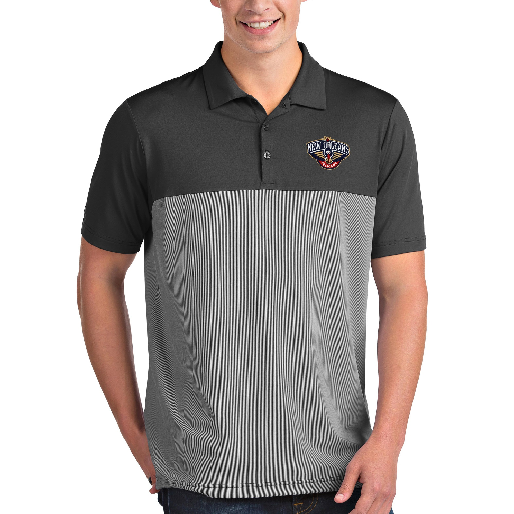 New Orleans Pelicans Antigua Venture Polo - Charcoal/White