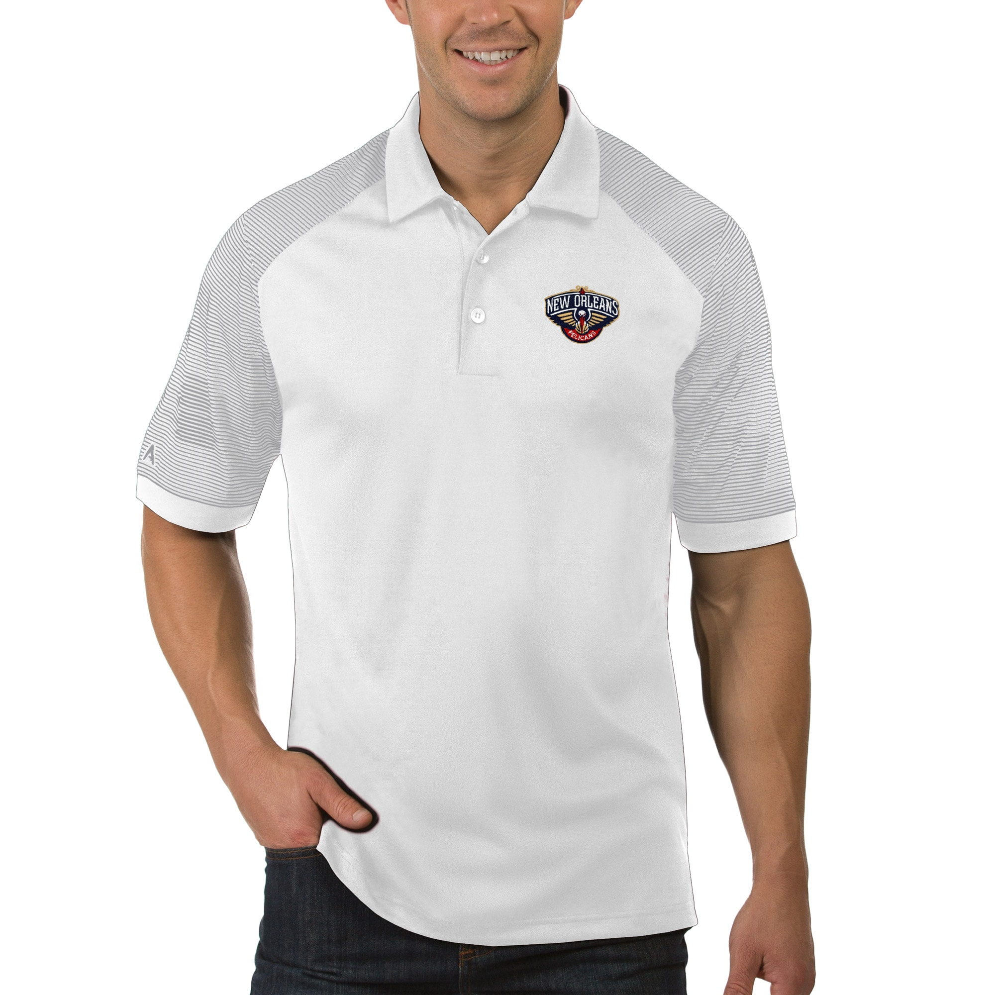 New Orleans Pelicans Antigua Engage Polo - White