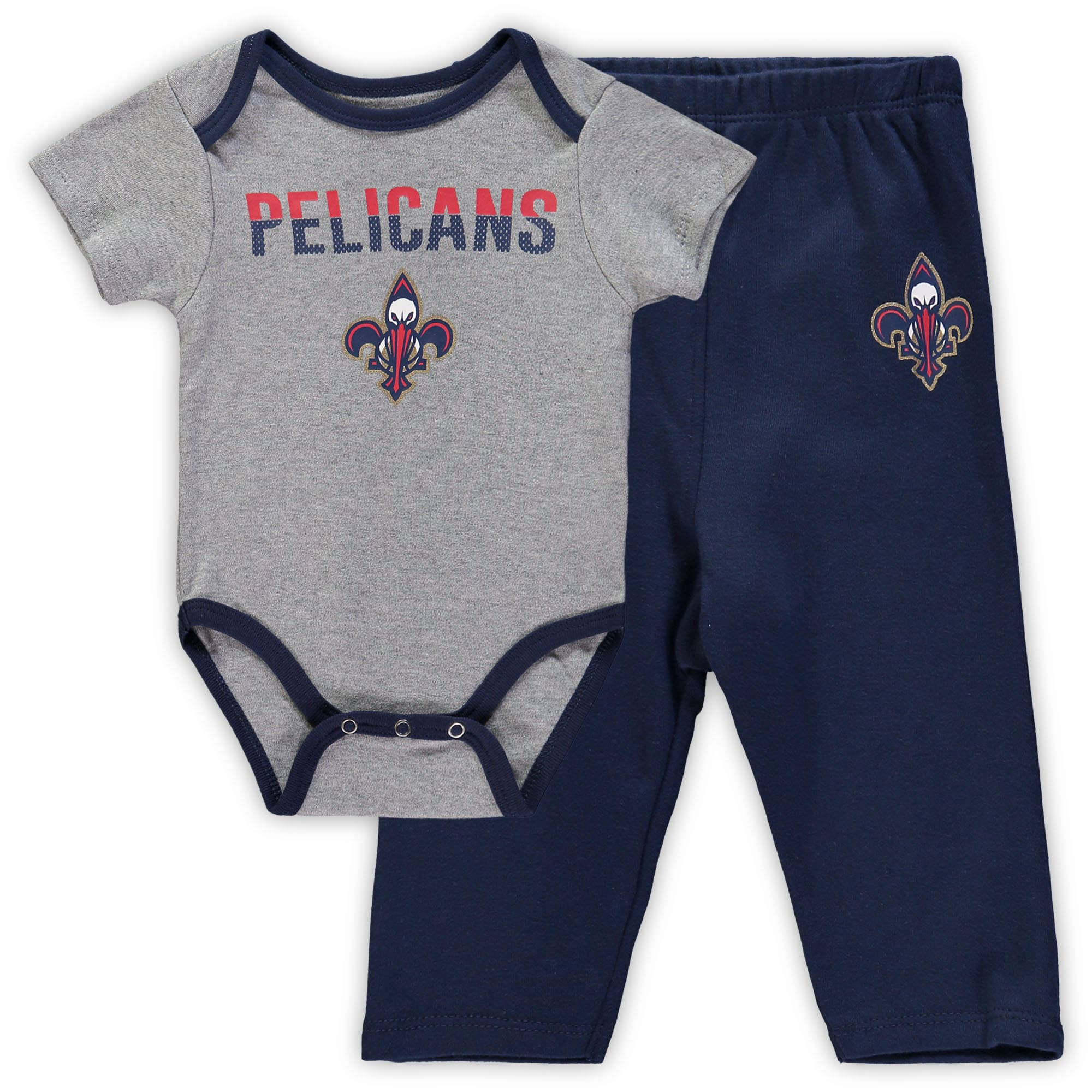 New Orleans Pelicans Newborn & Infant Pointguard Bodysuit and Pants Set - Heathered Gray/Navy