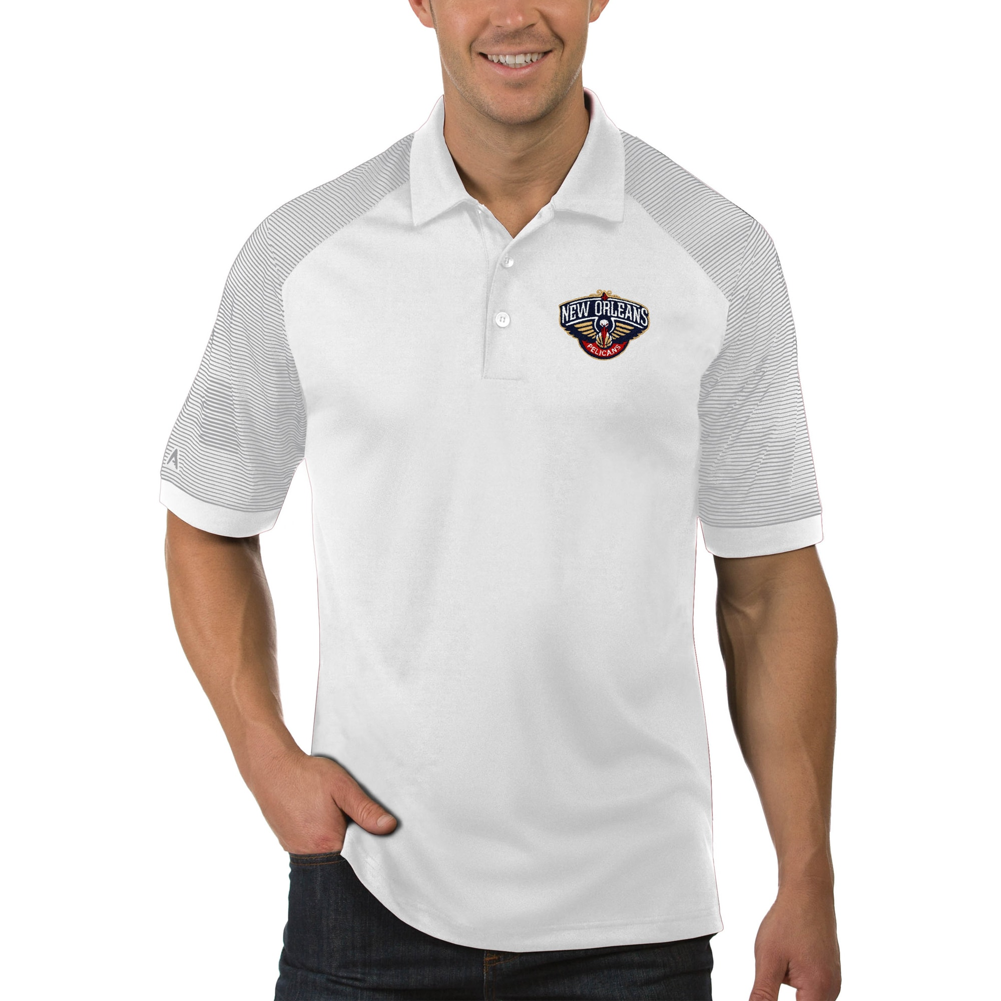 New Orleans Pelicans Antigua Engage Big & Tall Polo - White