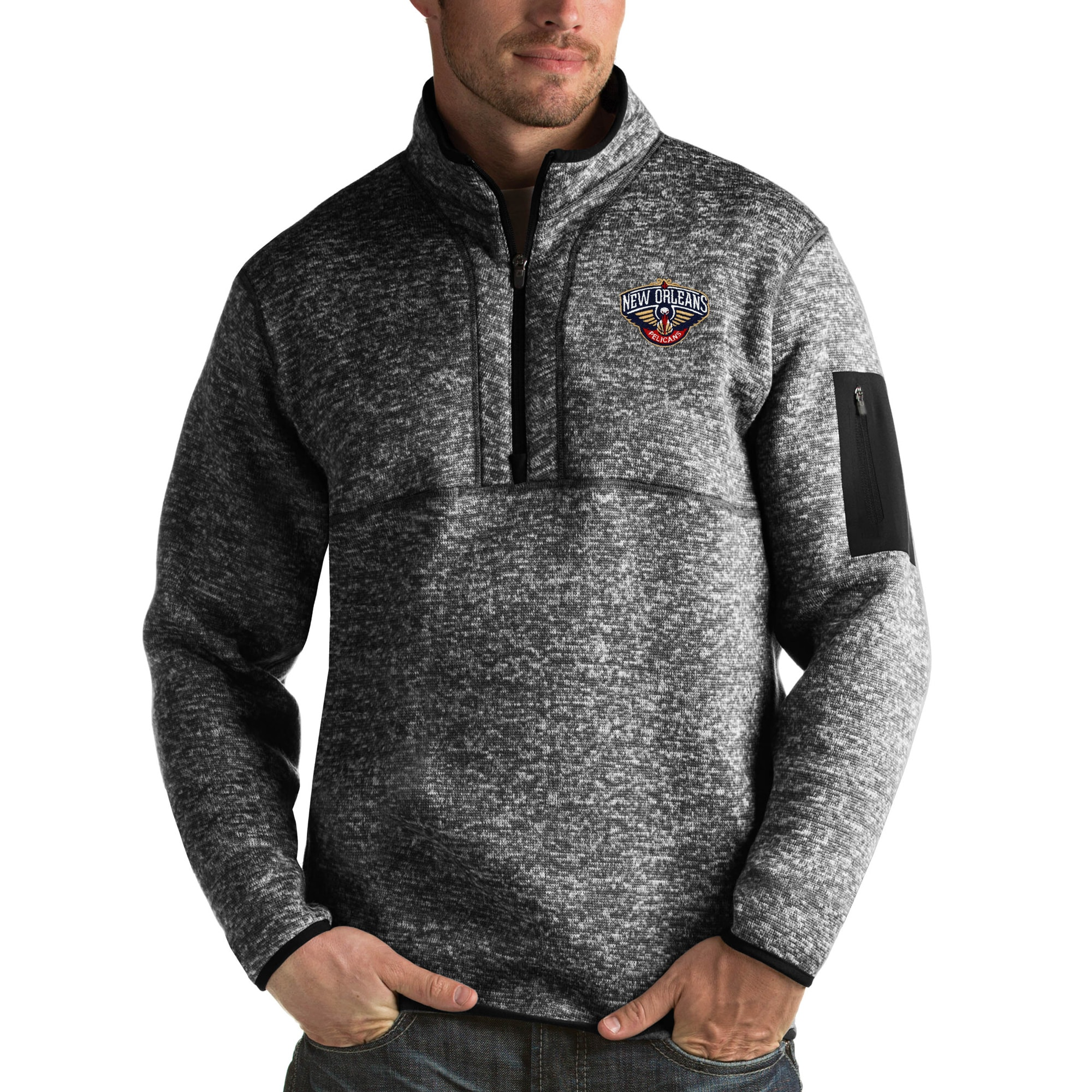 New Orleans Pelicans Antigua Fortune Big & Tall Quarter-Zip Pullover Jacket - Heather Black