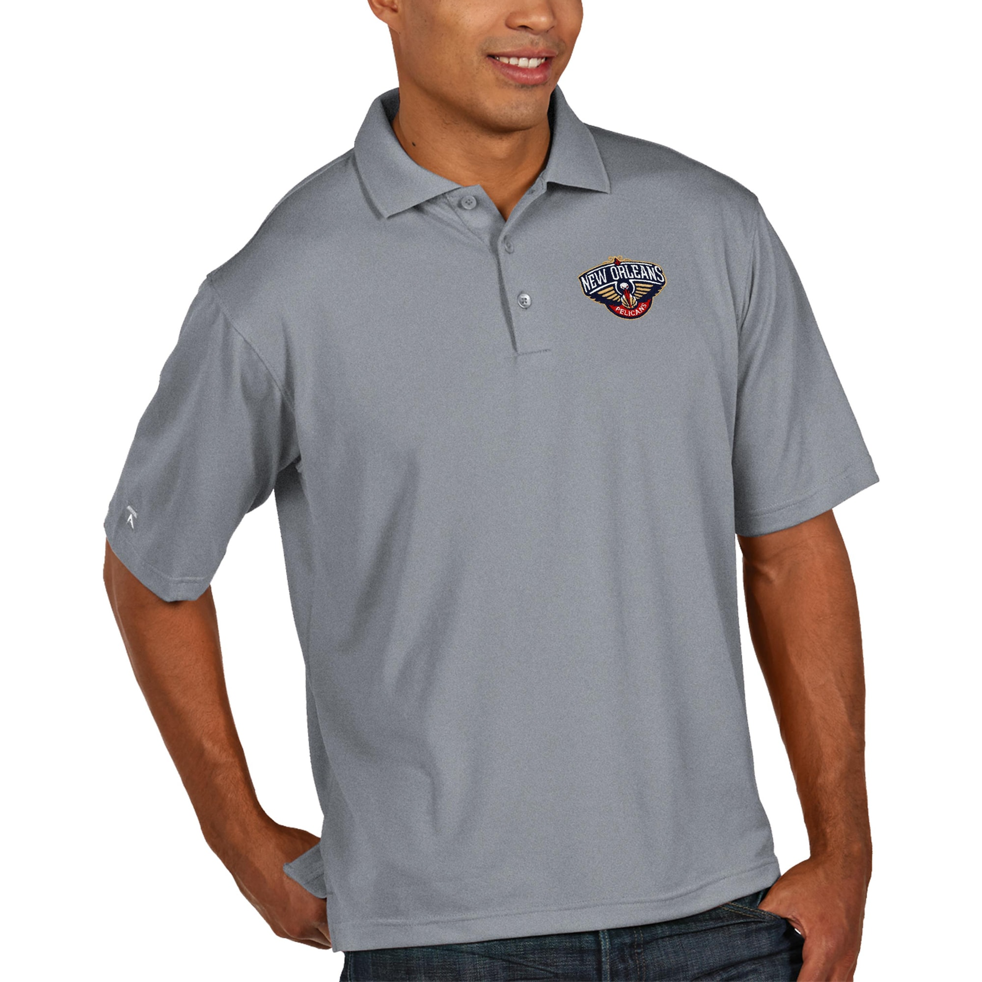 New Orleans Pelicans Antigua Pique Xtra Lite Big & Tall Polo - Heather Gray