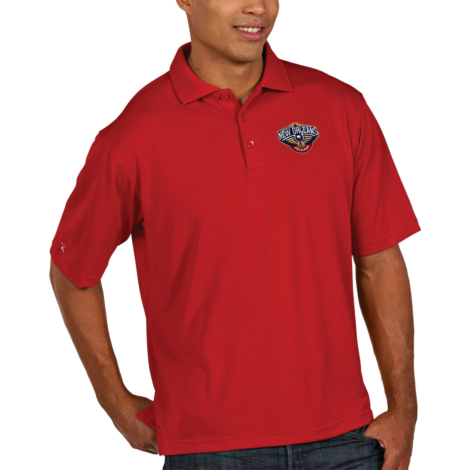 New Orleans Pelicans Antigua Pique Xtra Lite Big & Tall Polo - Red