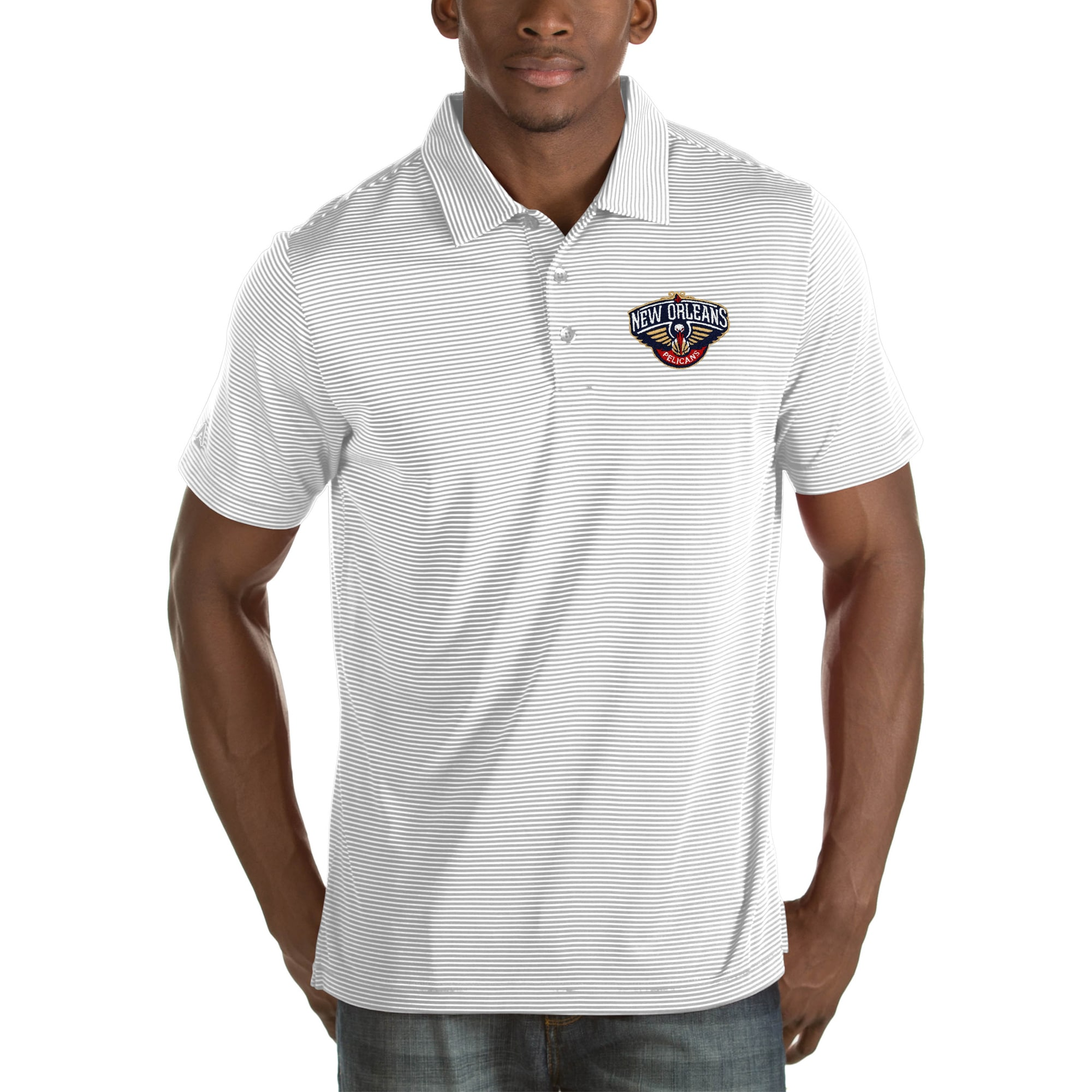 New Orleans Pelicans Antigua Quest Big & Tall Polo - White