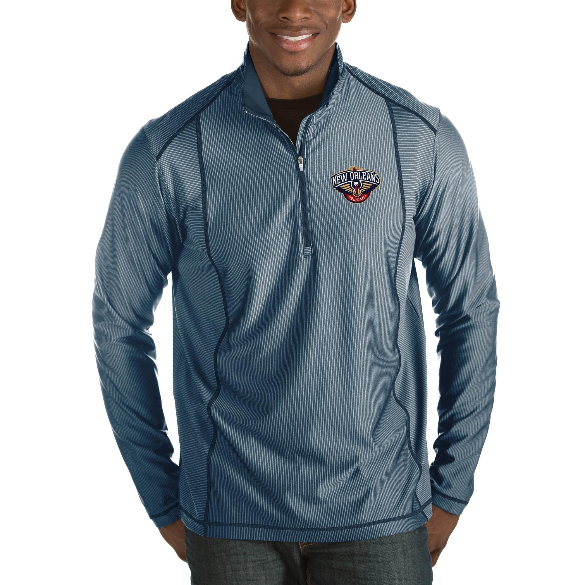 New Orleans Pelicans Antigua Tempo Big & Tall Half-Zip Pullover Jacket - Navy