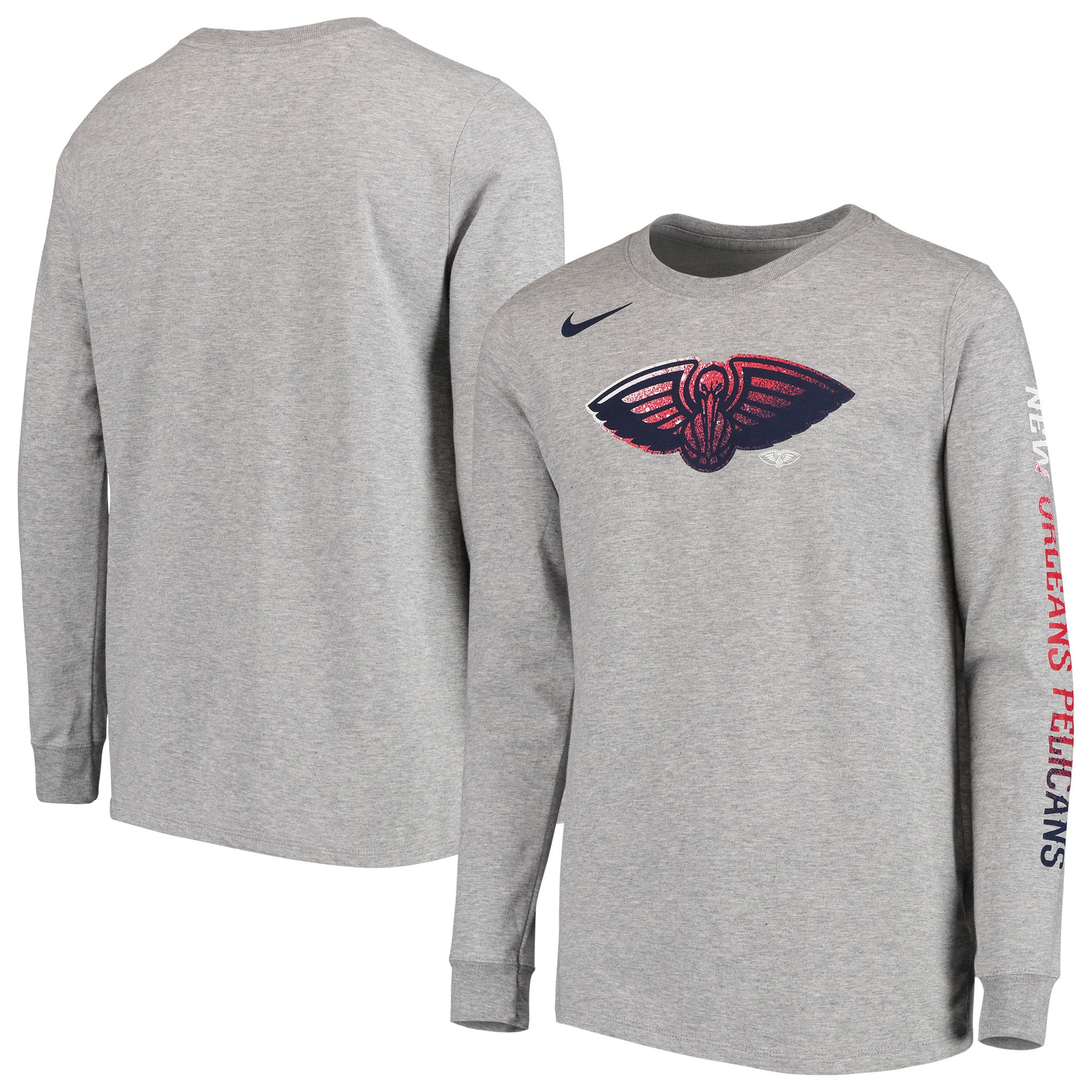New Orleans Pelicans Nike Youth Mezzo Logo Performance Long Sleeve T-Shirt - Heathered Gray