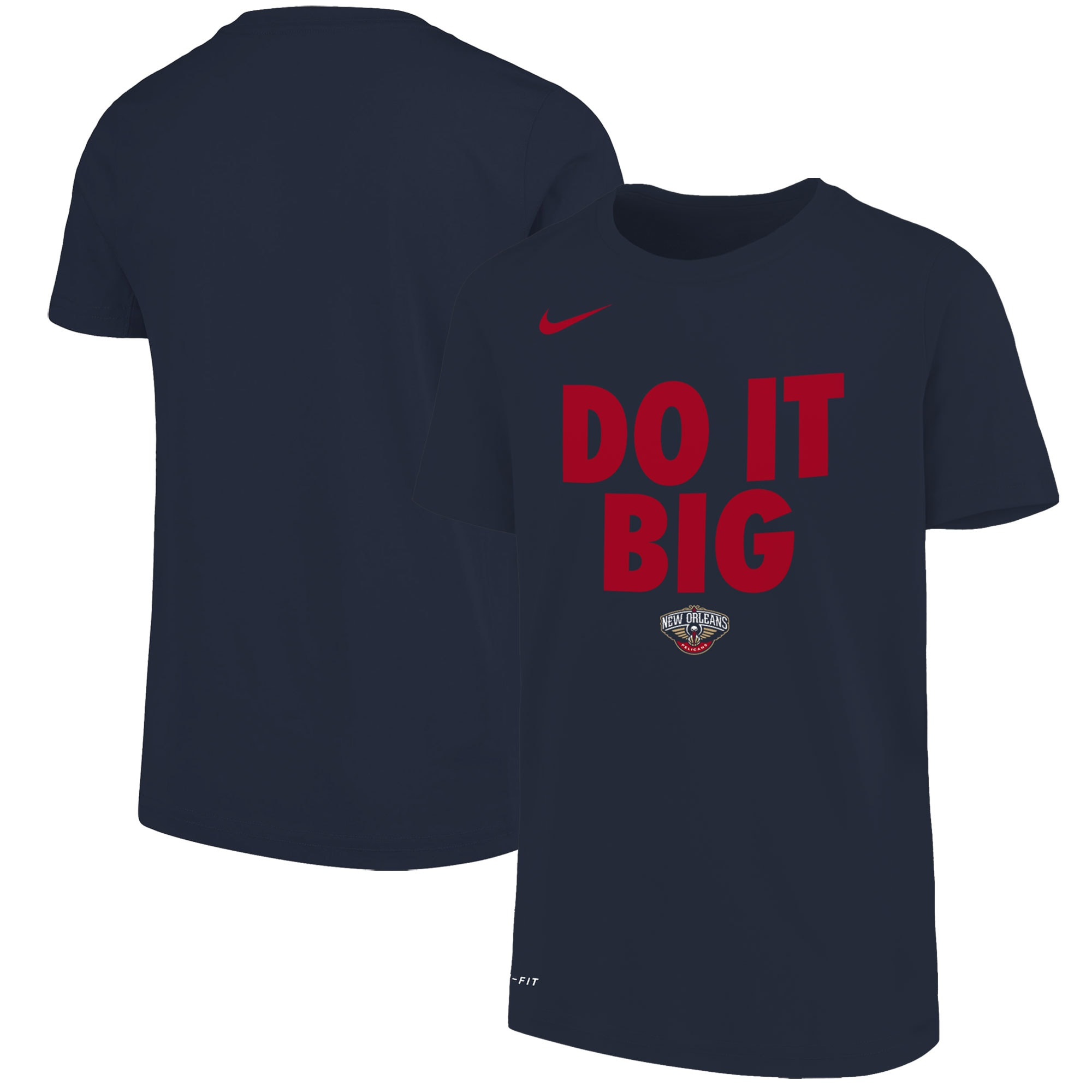New Orleans Pelicans Nike Youth Team Attitude Performance Cotton T-Shirt - Navy