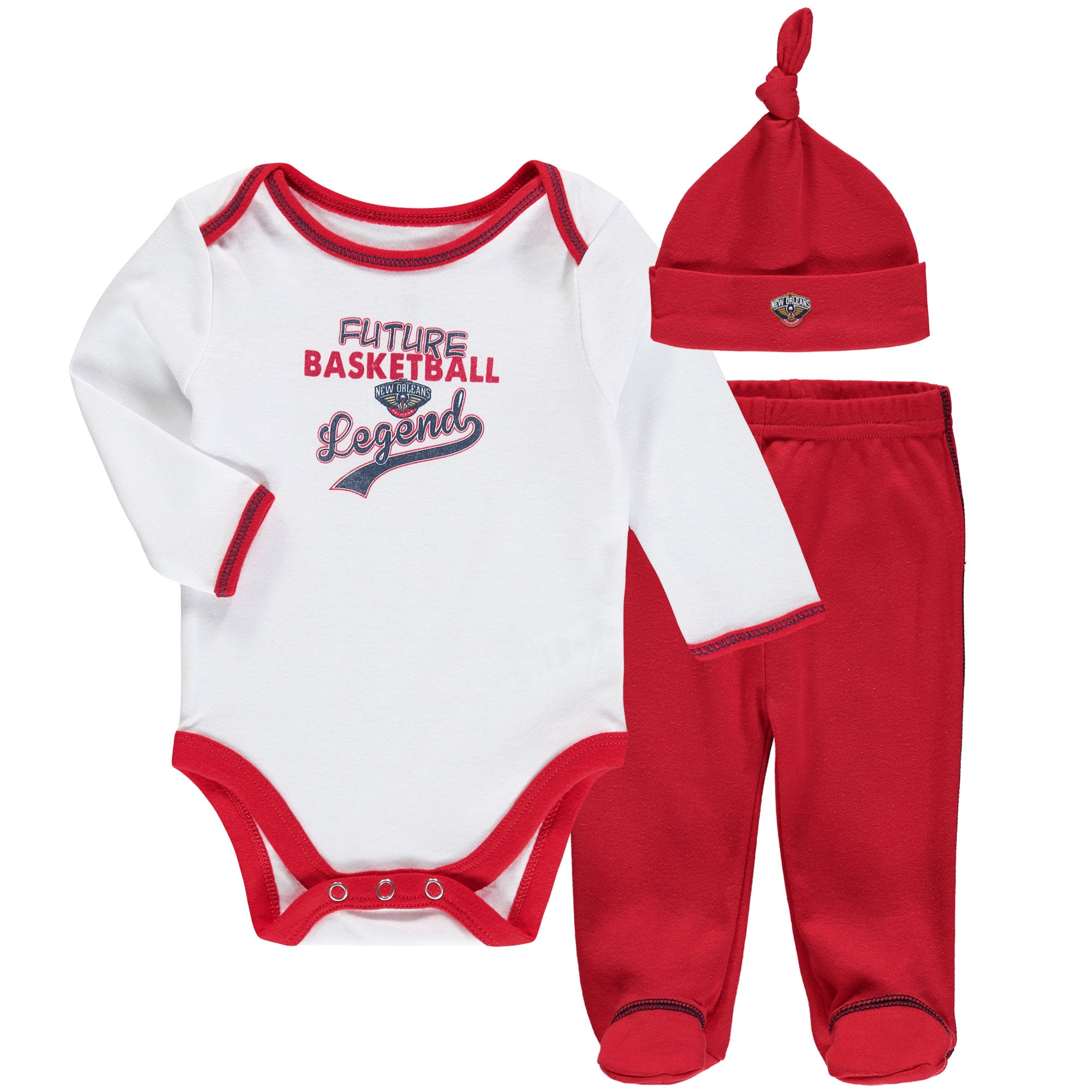 New Orleans Pelicans Newborn & Infant Future Legend Bodysuit, Pant and Hat Set - Red/White