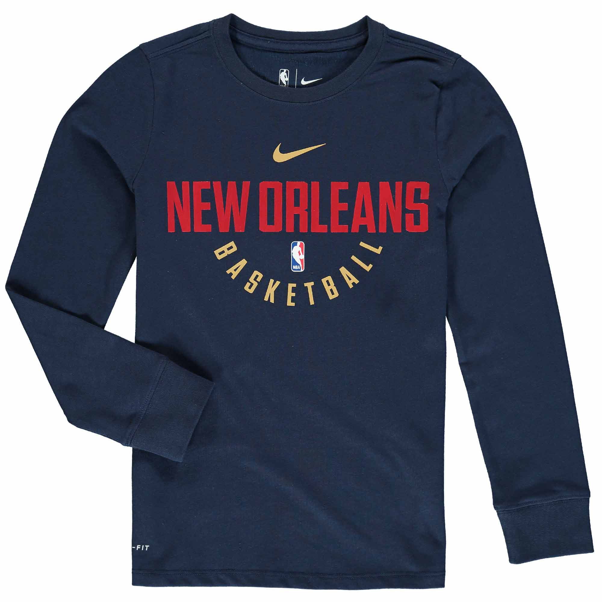 New Orleans Pelicans Nike Youth Elite Performance Practice Long Sleeve T-Shirt - Navy