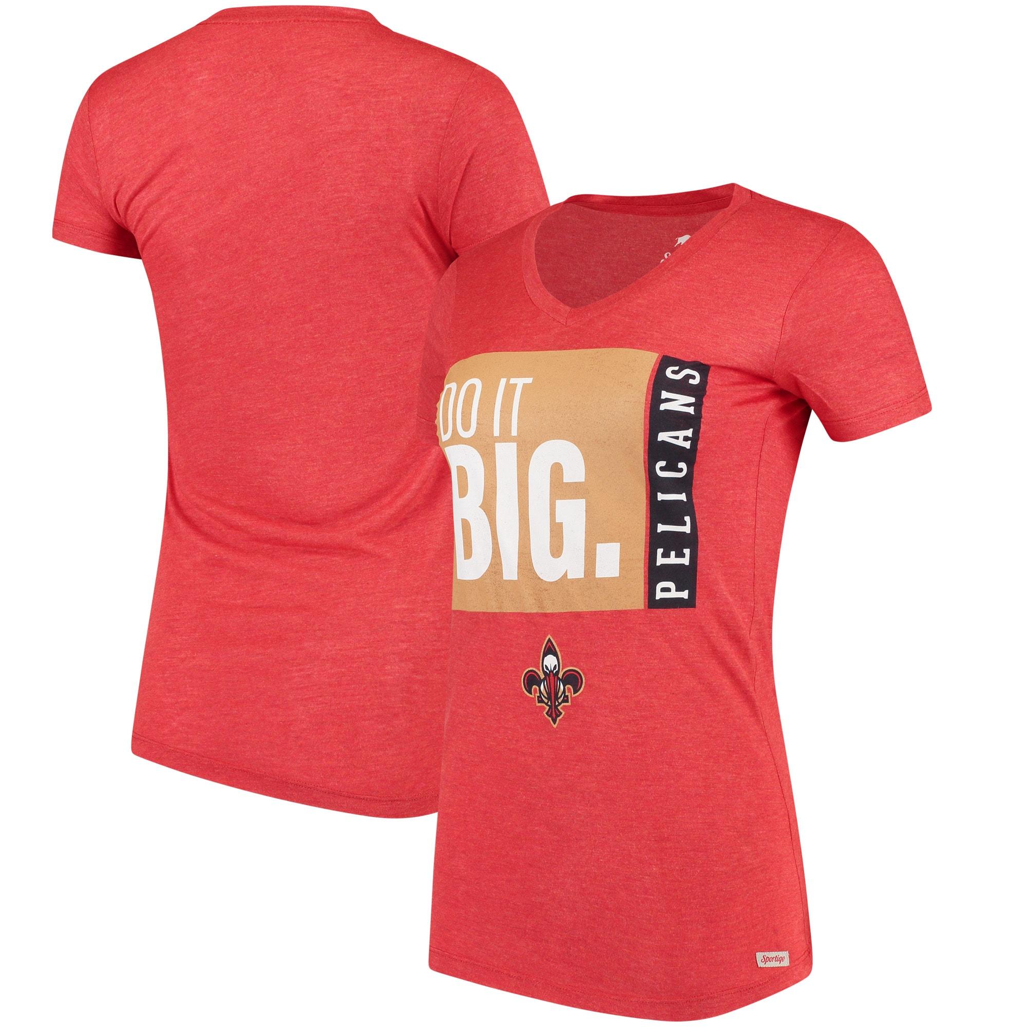 New Orleans Pelicans Sportiqe Women's Comfy Do it Big V-Neck T-Shirt - Red