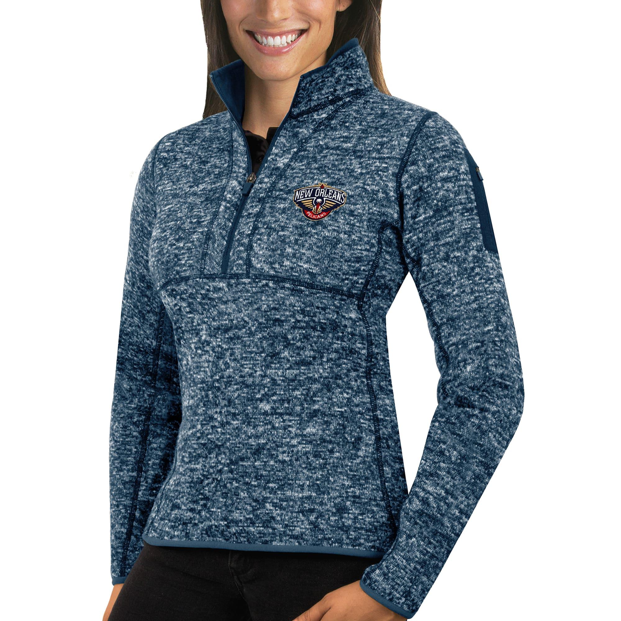 New Orleans Pelicans Antigua Women's Fortune Half-Zip Pullover Jacket - Heather Navy