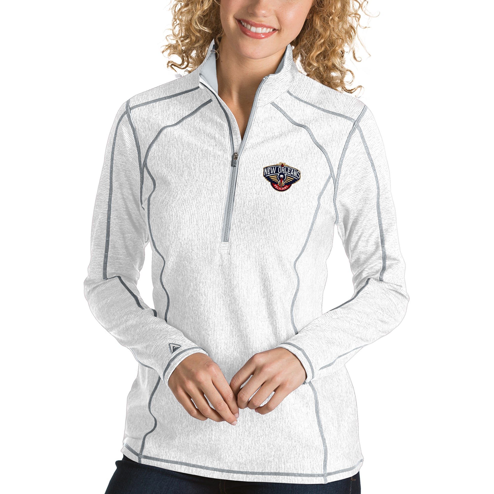 New Orleans Pelicans Antigua Women's Tempo Half-Zip Pullover Jacket - White