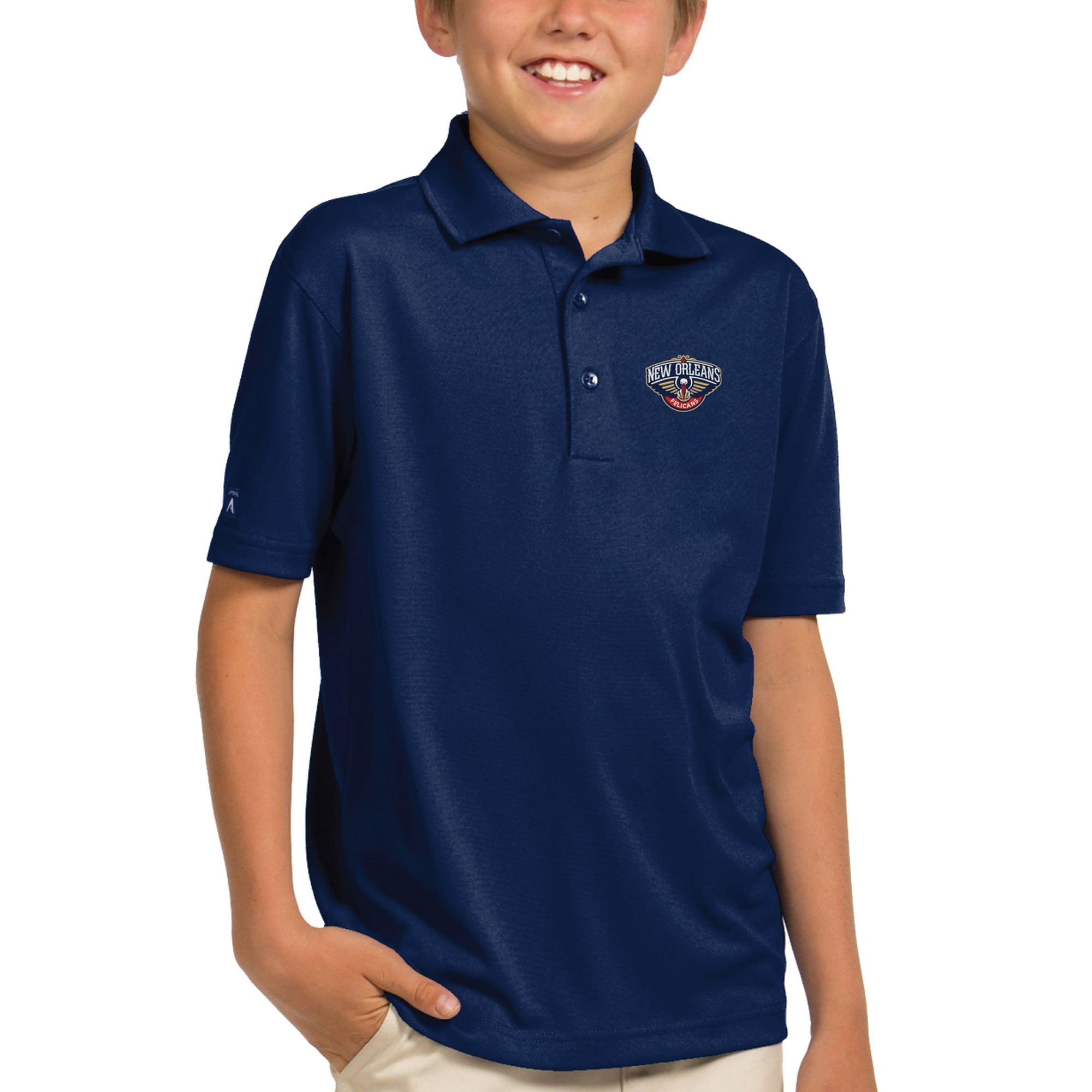 New Orleans Pelicans Antigua Youth Pique Desert Dry X-tra Lite Polo - Navy