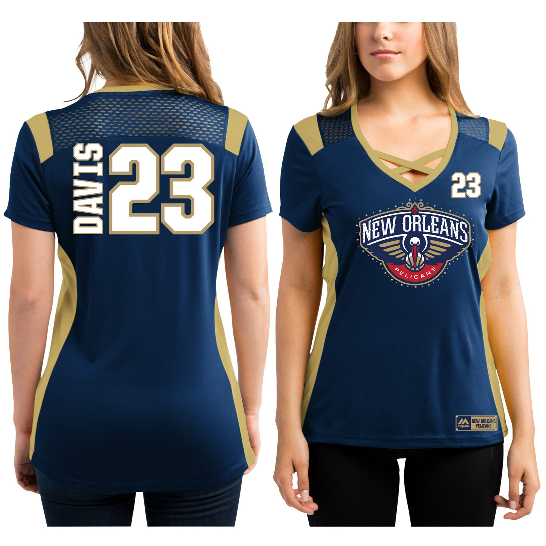 Anthony Davis New Orleans Pelicans Majestic Women's Draft Him Jersey Top T-Shirt - Navy