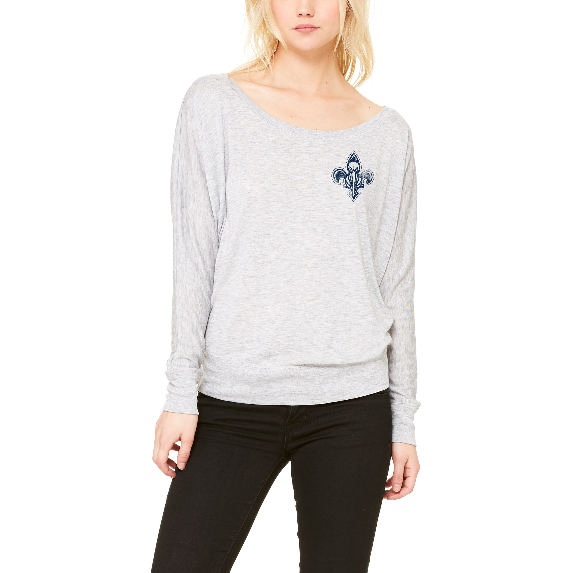 New Orleans Pelicans Let Loose by RNL Women's Winning Off-Shoulder Long Sleeve T-Shirt - Heathered Gray