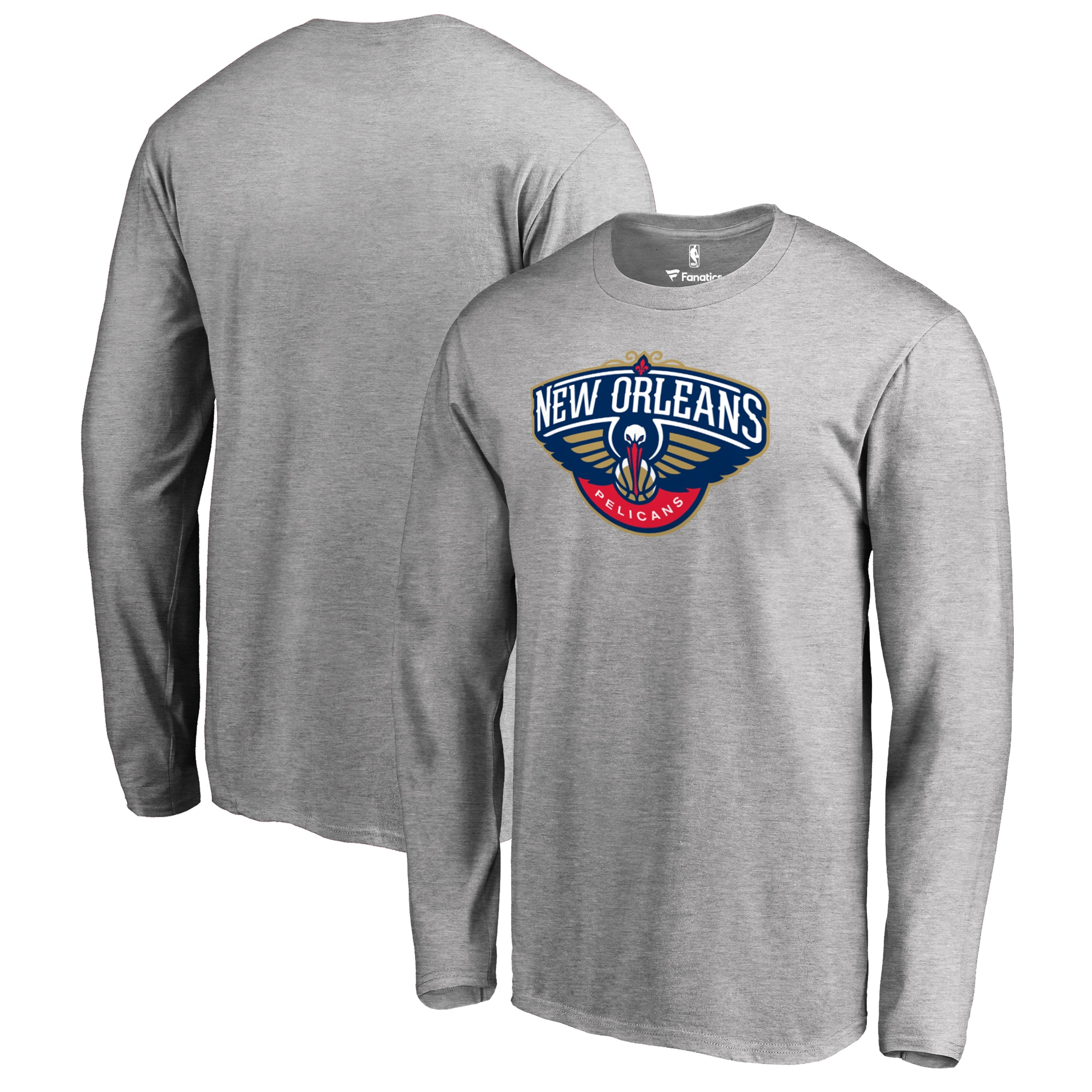 New Orleans Pelicans Fanatics Branded Primary Logo Long Sleeve T-Shirt - Heather Gray