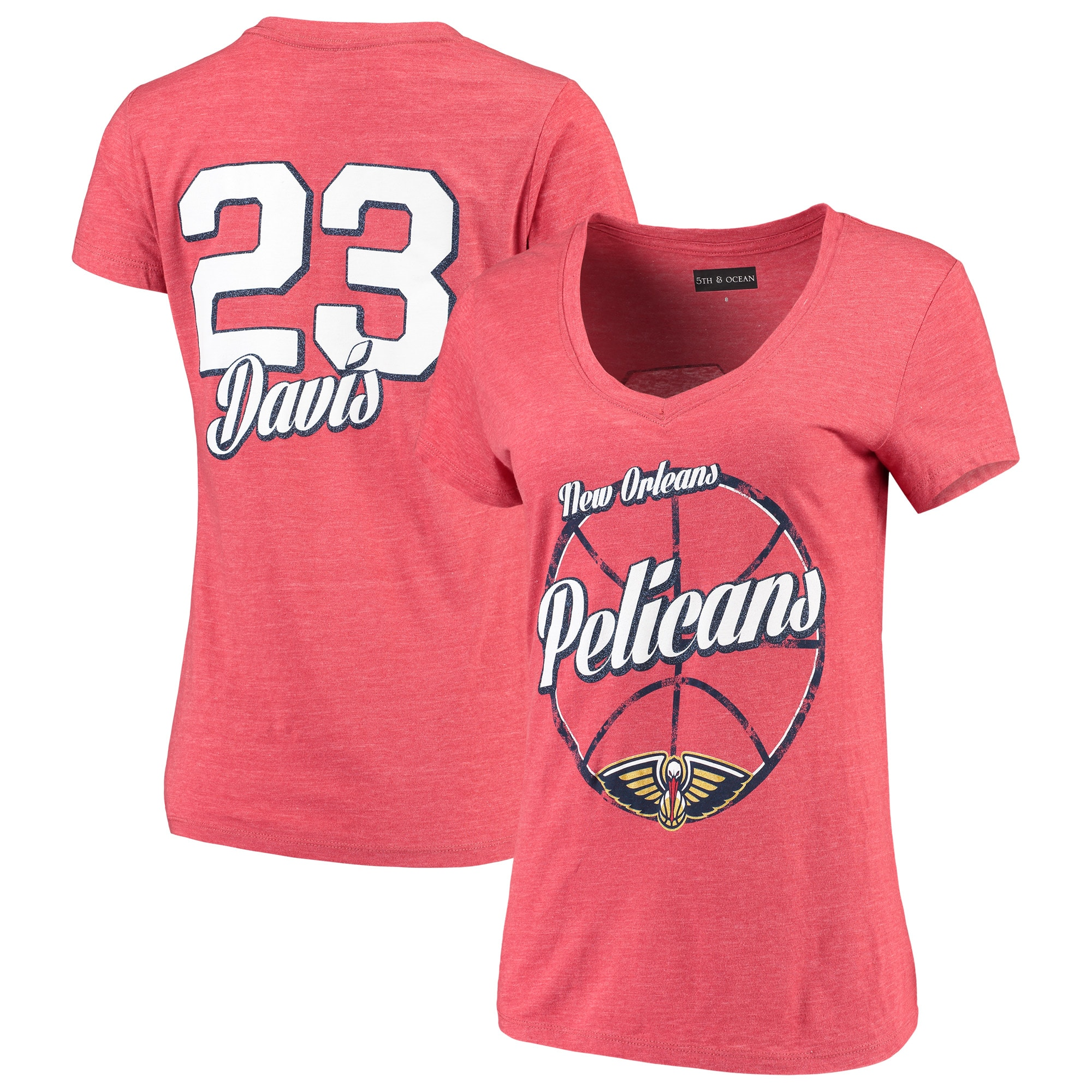 Anthony Davis New Orleans Pelicans 5th & Ocean by New Era Women's Name & Number Tri-Blend V-Neck T-Shirt - Red