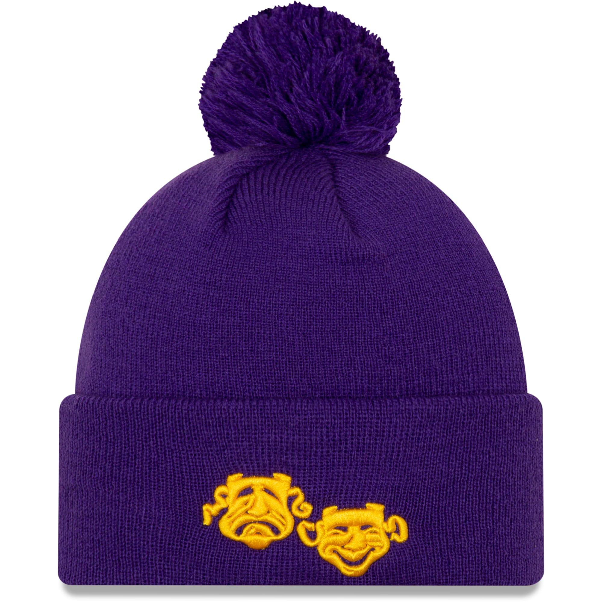 New Orleans Pelicans New Era 2019/20 City Edition Pom Knit Hat - Purple