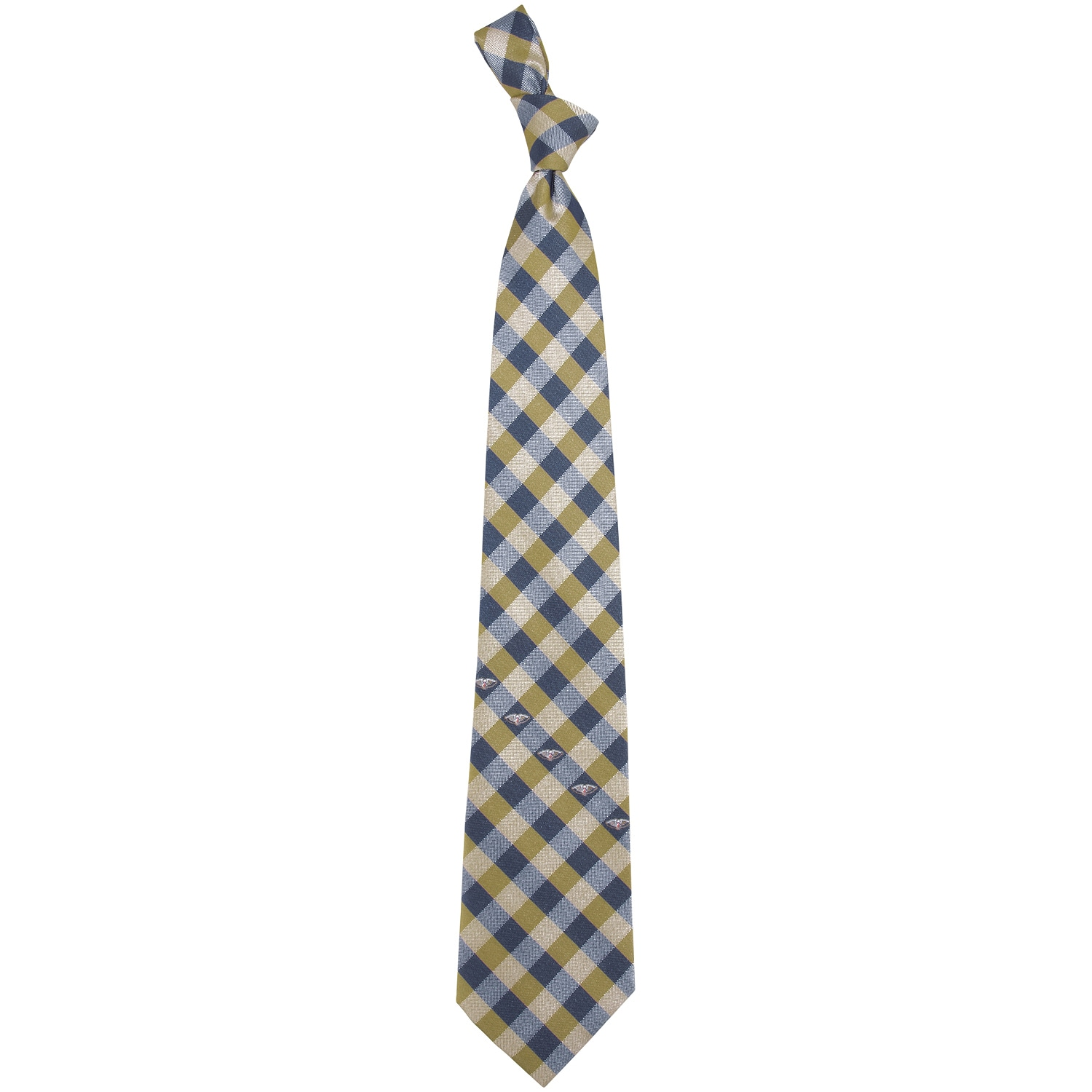 New Orleans Pelicans Woven Checkered Tie - Navy Blue/Gold