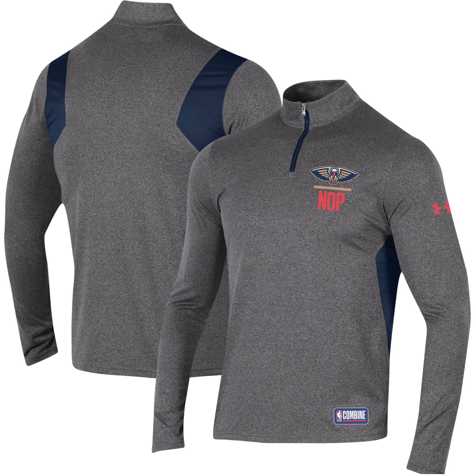 New Orleans Pelicans Under Armour Combine Authentic Season Tech Quarter-Zip Pullover Jacket - Heathered Charcoal
