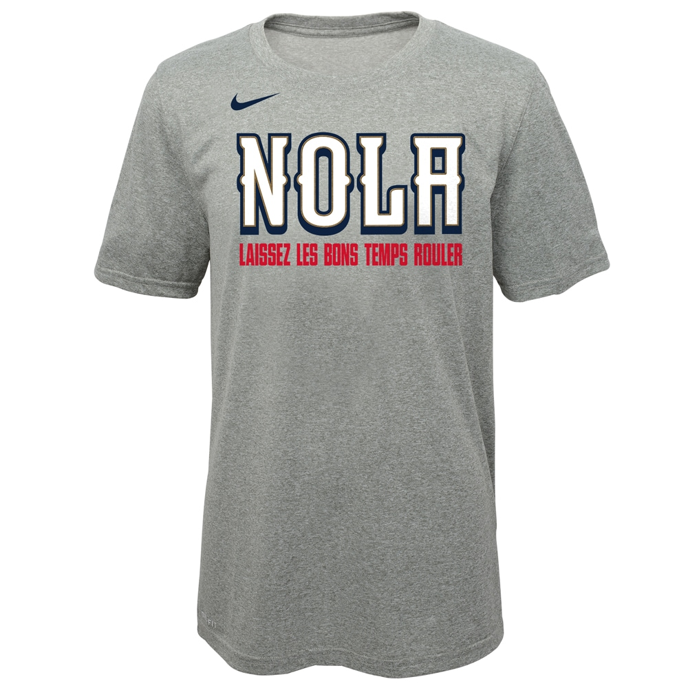 New Orleans Pelicans Nike Youth Earned Edition Logo Essential T-Shirt - Gray