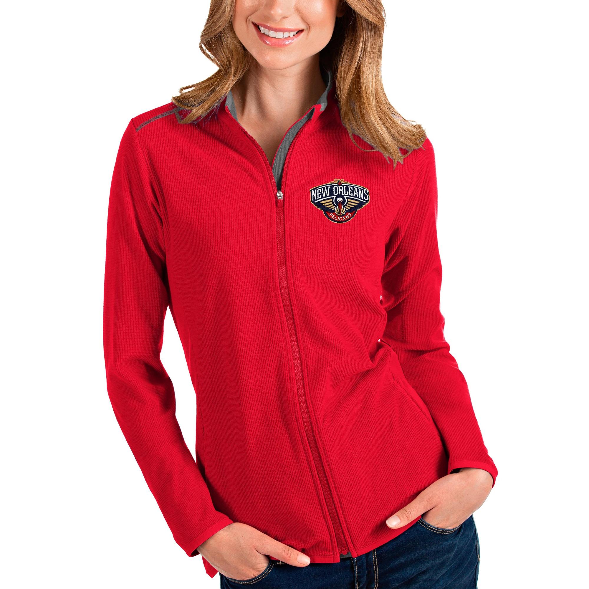 New Orleans Pelicans Antigua Women's Glacier Full-Zip Jacket - Red/Gray
