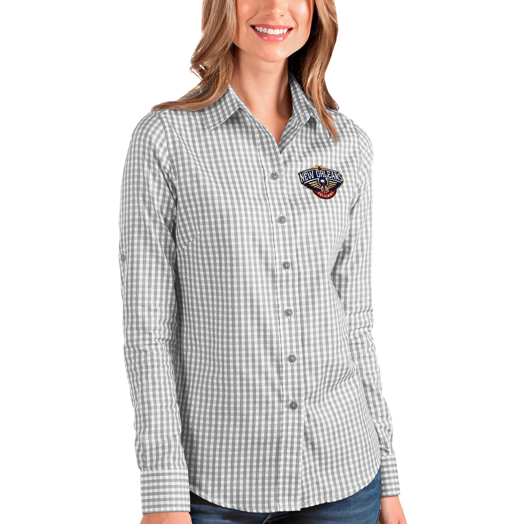 New Orleans Pelicans Antigua Women's Structure Button-Up Long Sleeve Shirt - Charcoal/White
