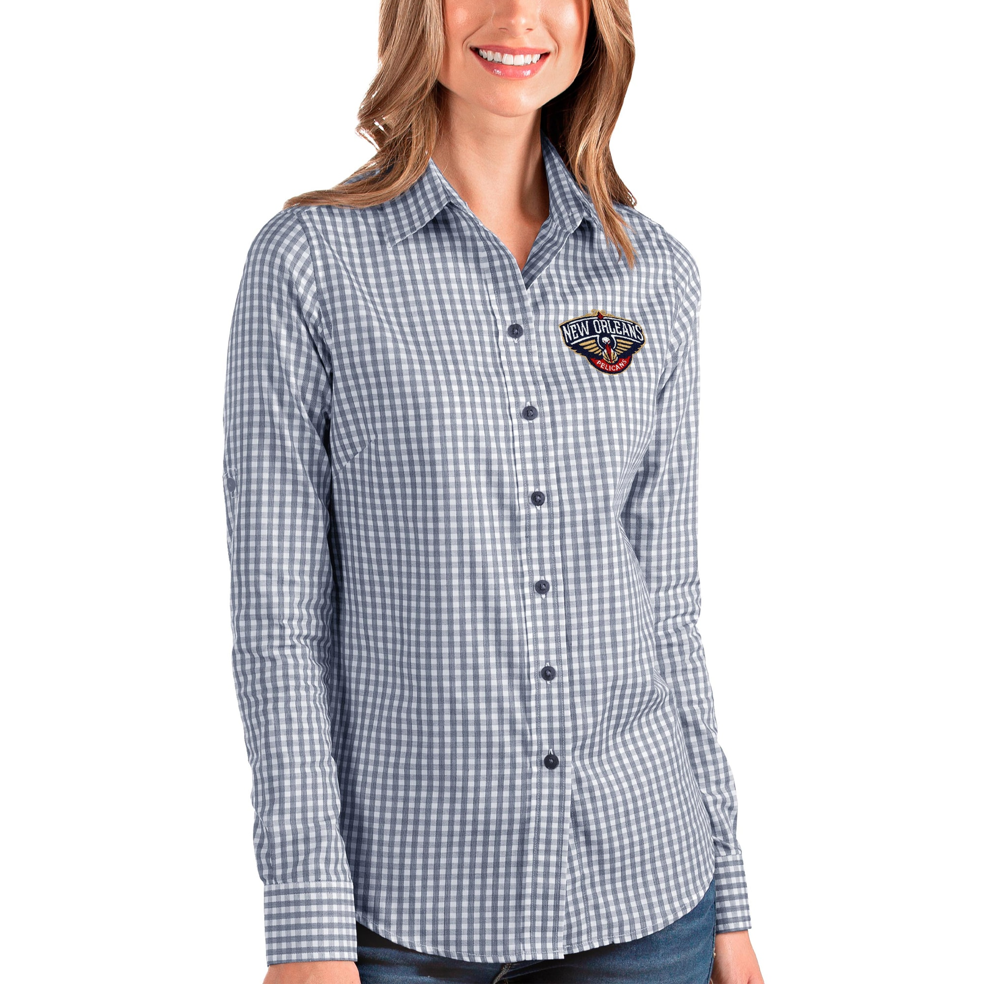 New Orleans Pelicans Antigua Women's Structure Button-Up Long Sleeve Shirt - Navy/White
