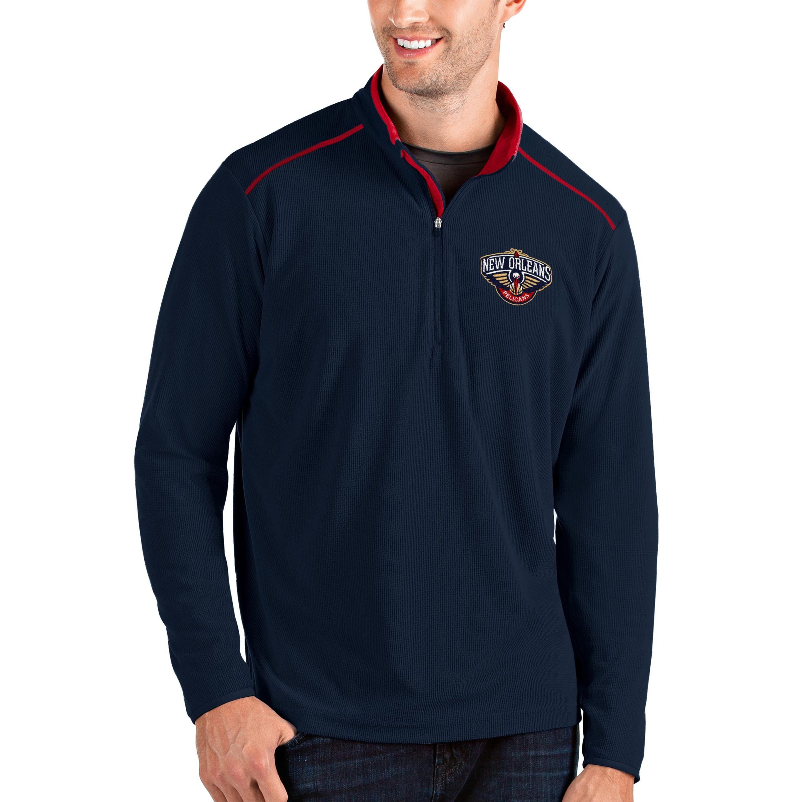 New Orleans Pelicans Antigua Big & Tall Glacier Quarter-Zip Pullover Jacket - Navy/Red