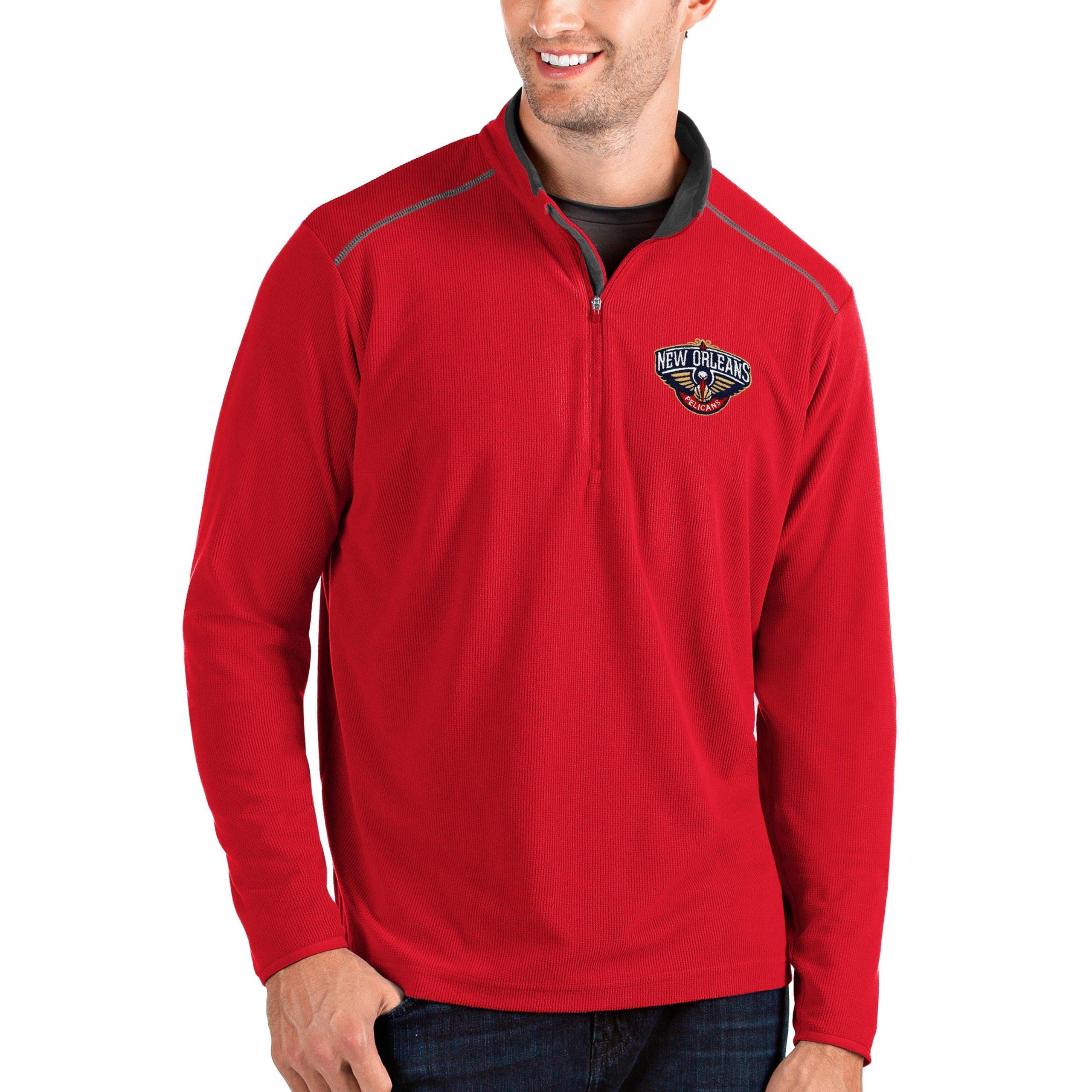 New Orleans Pelicans Antigua Big & Tall Glacier Quarter-Zip Pullover Jacket - Red/Gray