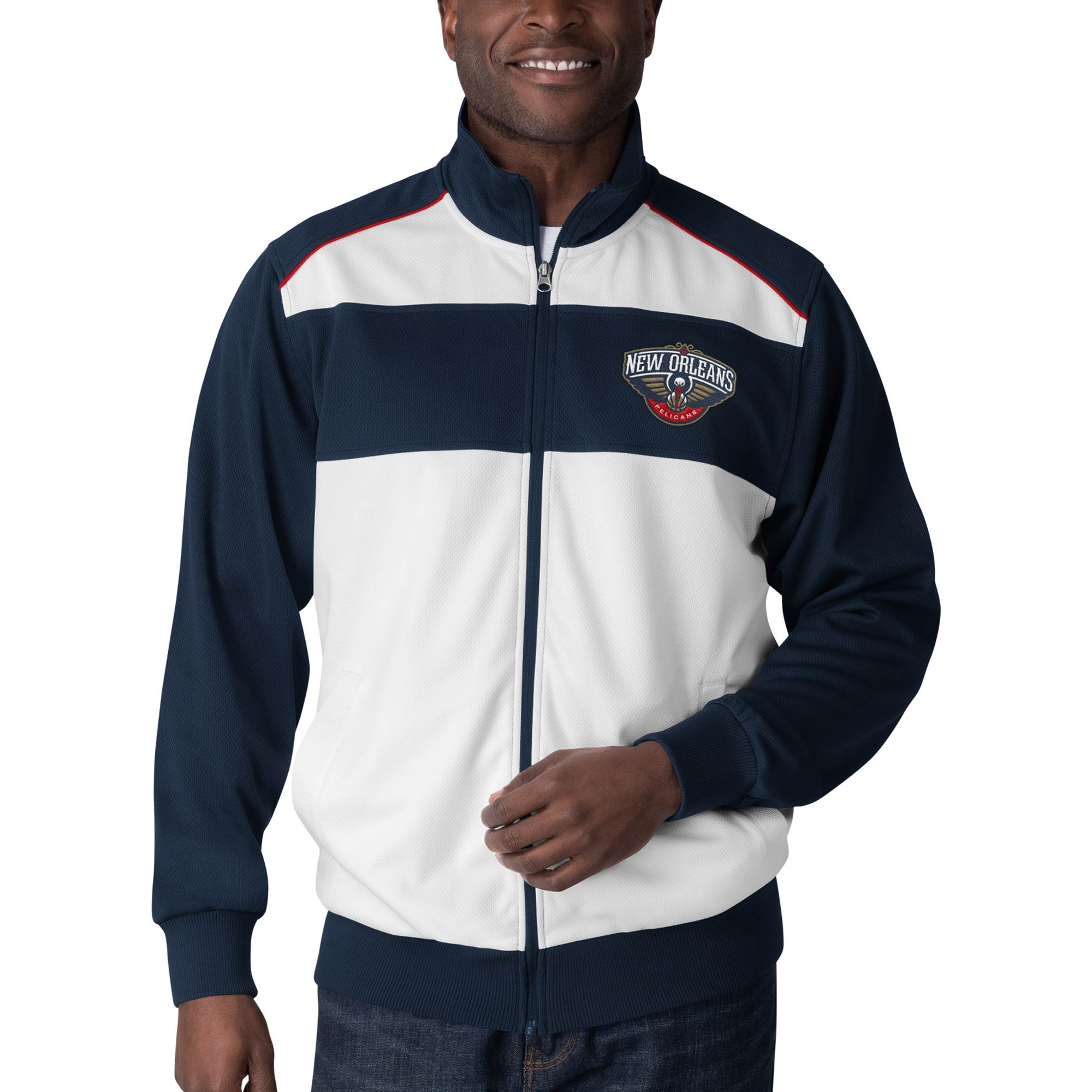 New Orleans Pelicans G-III Sports by Carl Banks Layup Full-Zip Track Jacket - White/Navy