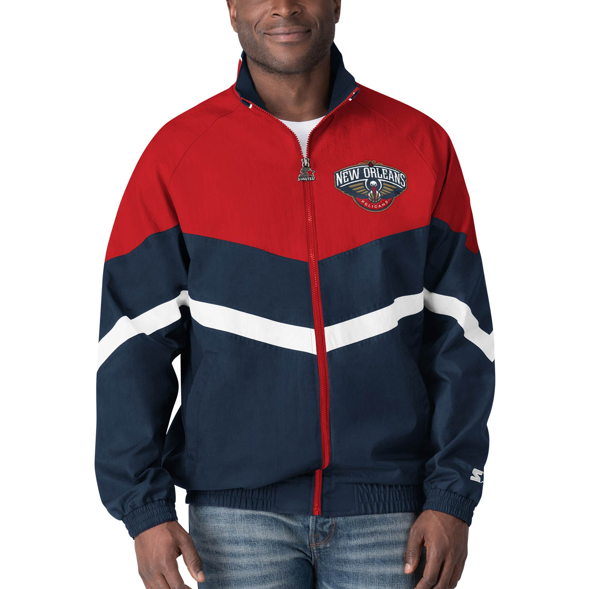New Orleans Pelicans Starter Bank Shot Oxford Full-Zip Jacket - Navy/Red