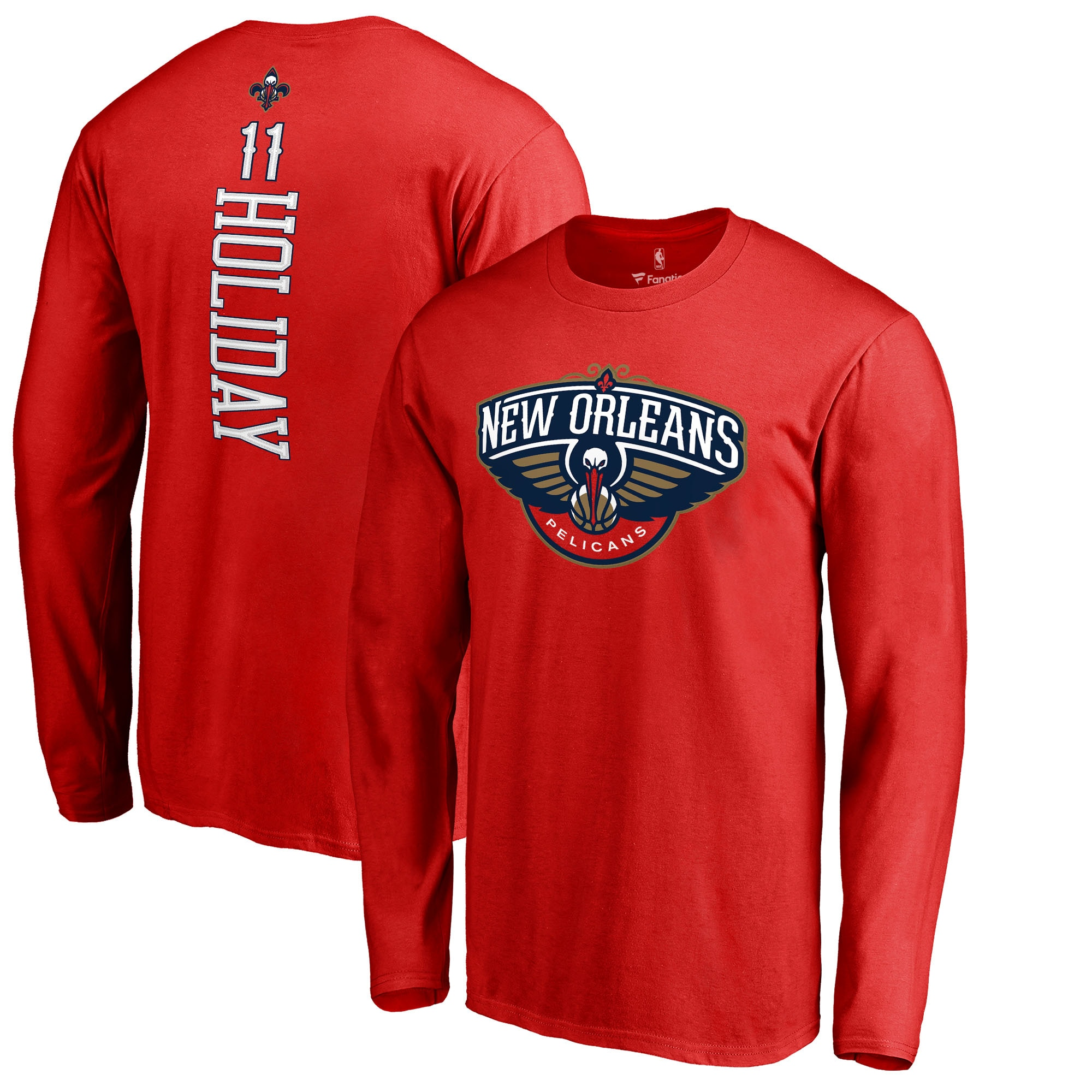 Jrue Holiday New Orleans Pelicans Fanatics Branded Long Sleeve Backer Name and Number T-Shirt - Red