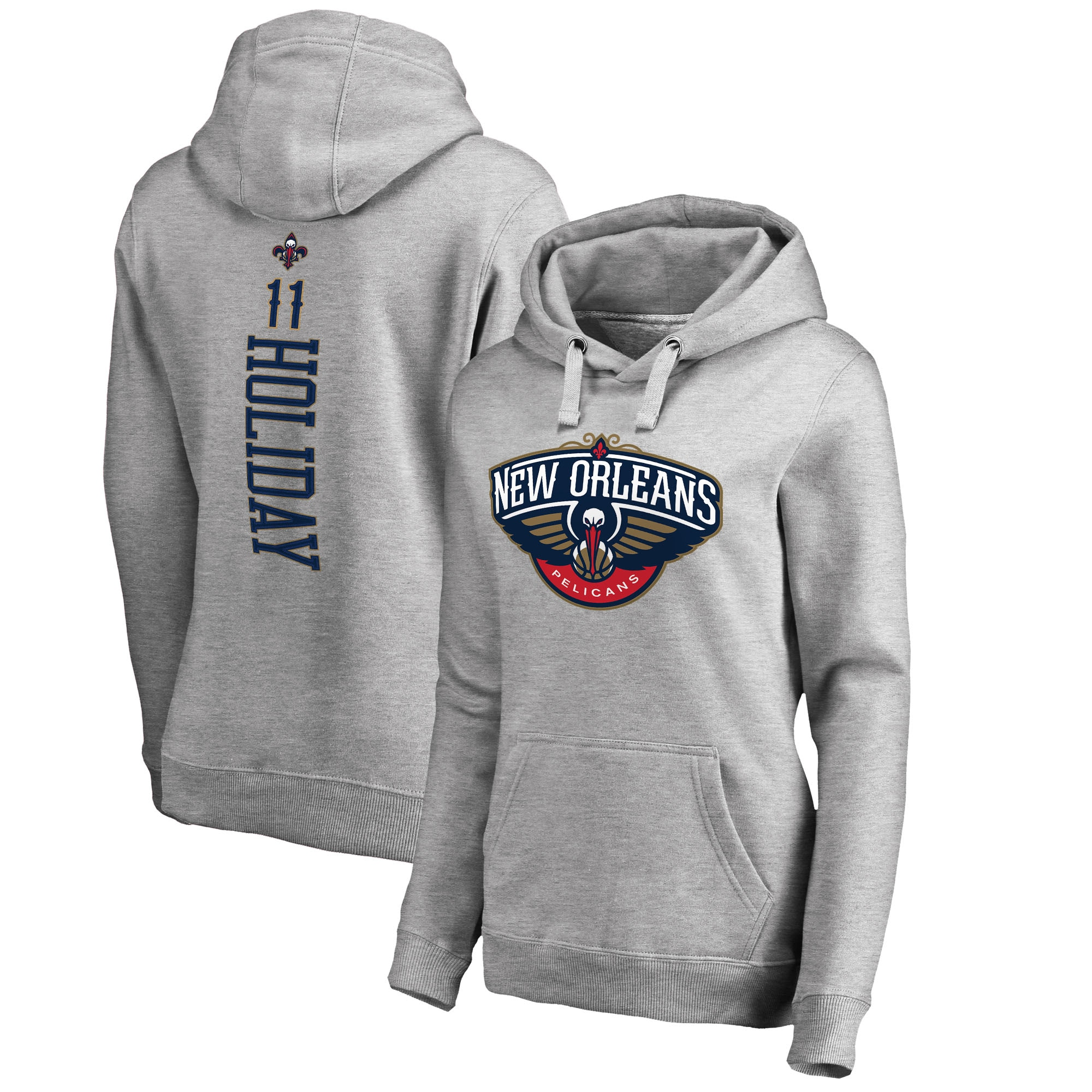 Jrue Holiday New Orleans Pelicans Fanatics Branded Women's Backer Name and Number Pullover Hoodie - Heathered Gray