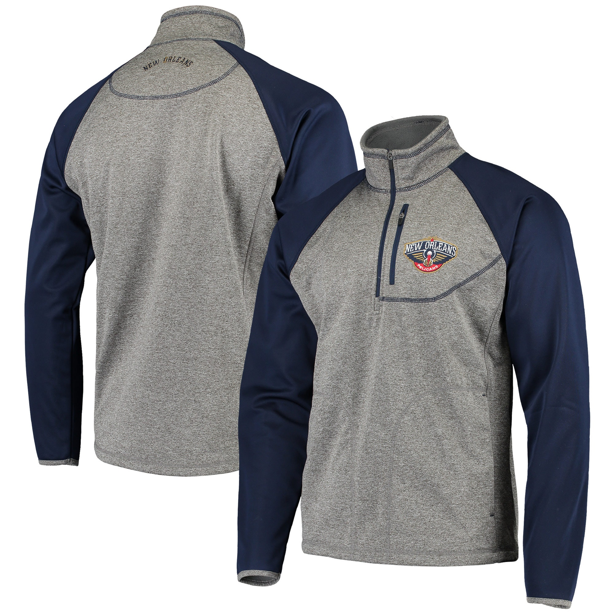 New Orleans Pelicans G-III Sports by Carl Banks Mountain Trail Half-Zip Pullover Jacket - Gray/Navy