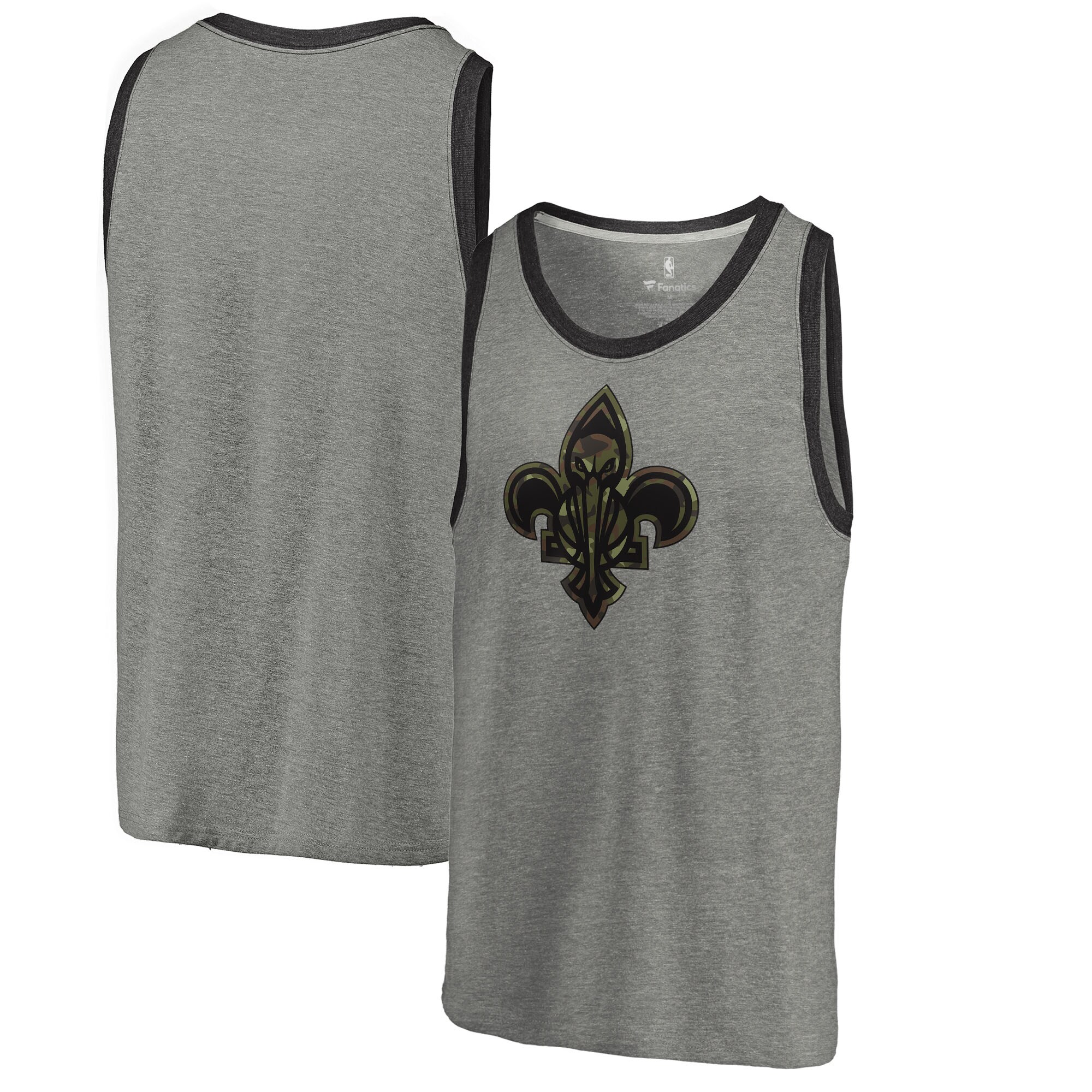New Orleans Pelicans Fanatics Branded Camo Collection Prestige Tri-Blend Tank Top - Heathered Gray