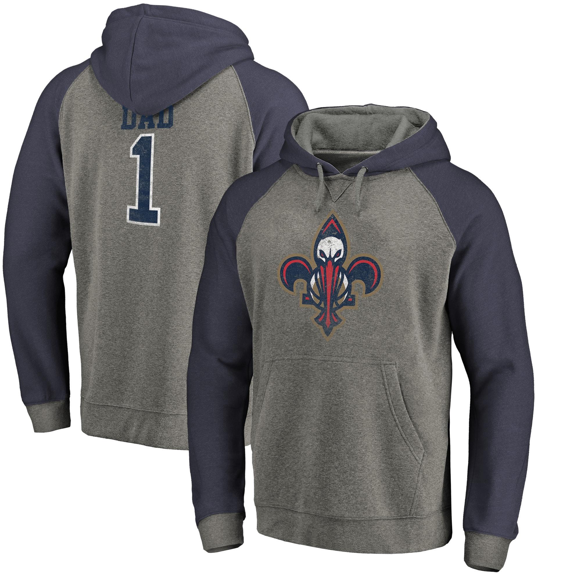 New Orleans Pelicans Fanatics Branded Greatest Dad Long Sleeve Tri-Blend Raglan Hoodie - Heathered Gray