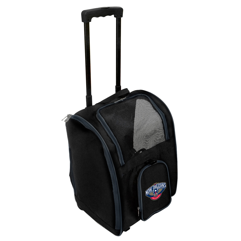 New Orleans Pelicans 2-Wheeled Roller Pet Carrier - Black