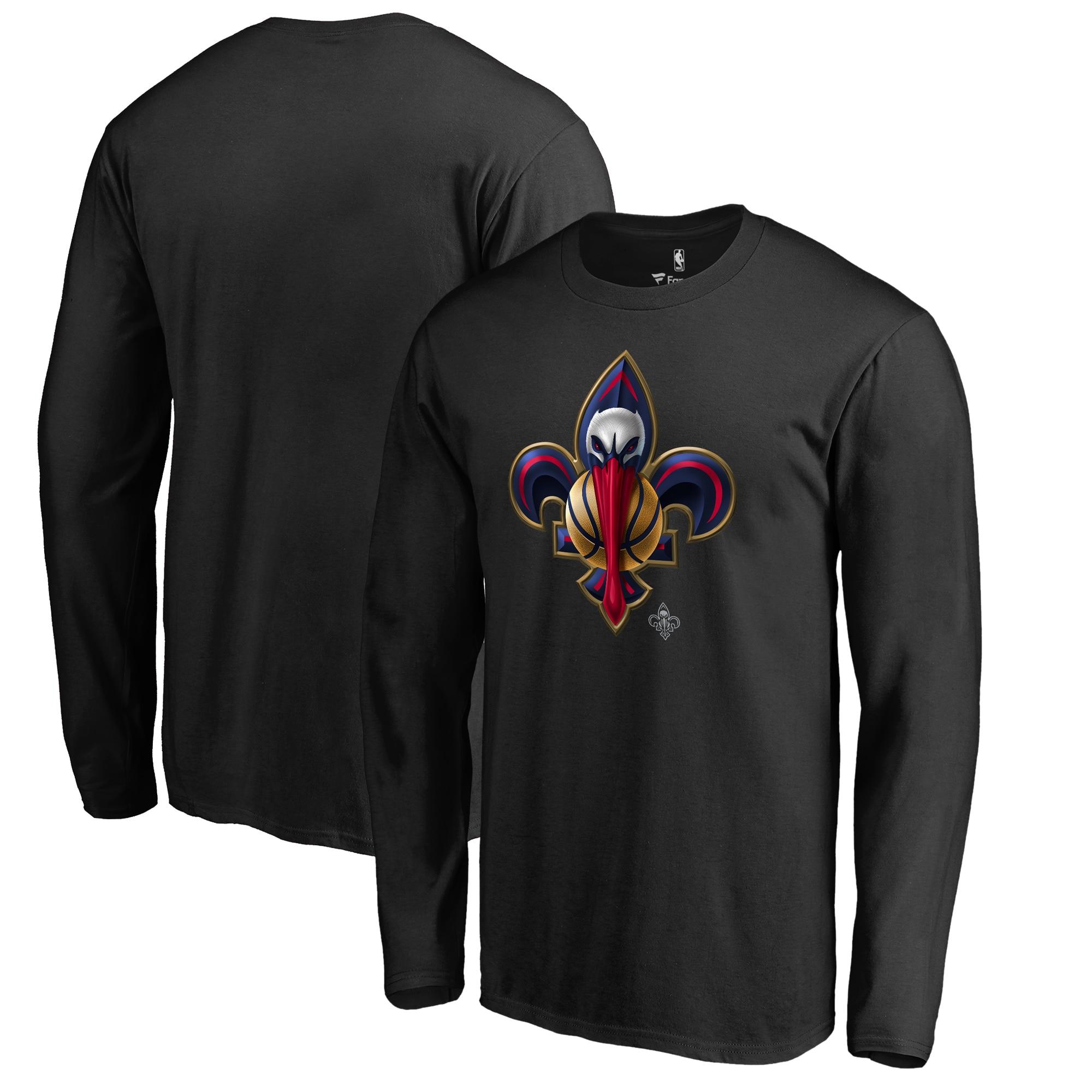 New Orleans Pelicans Fanatics Branded Midnight Mascot Long Sleeve T-Shirt - Black