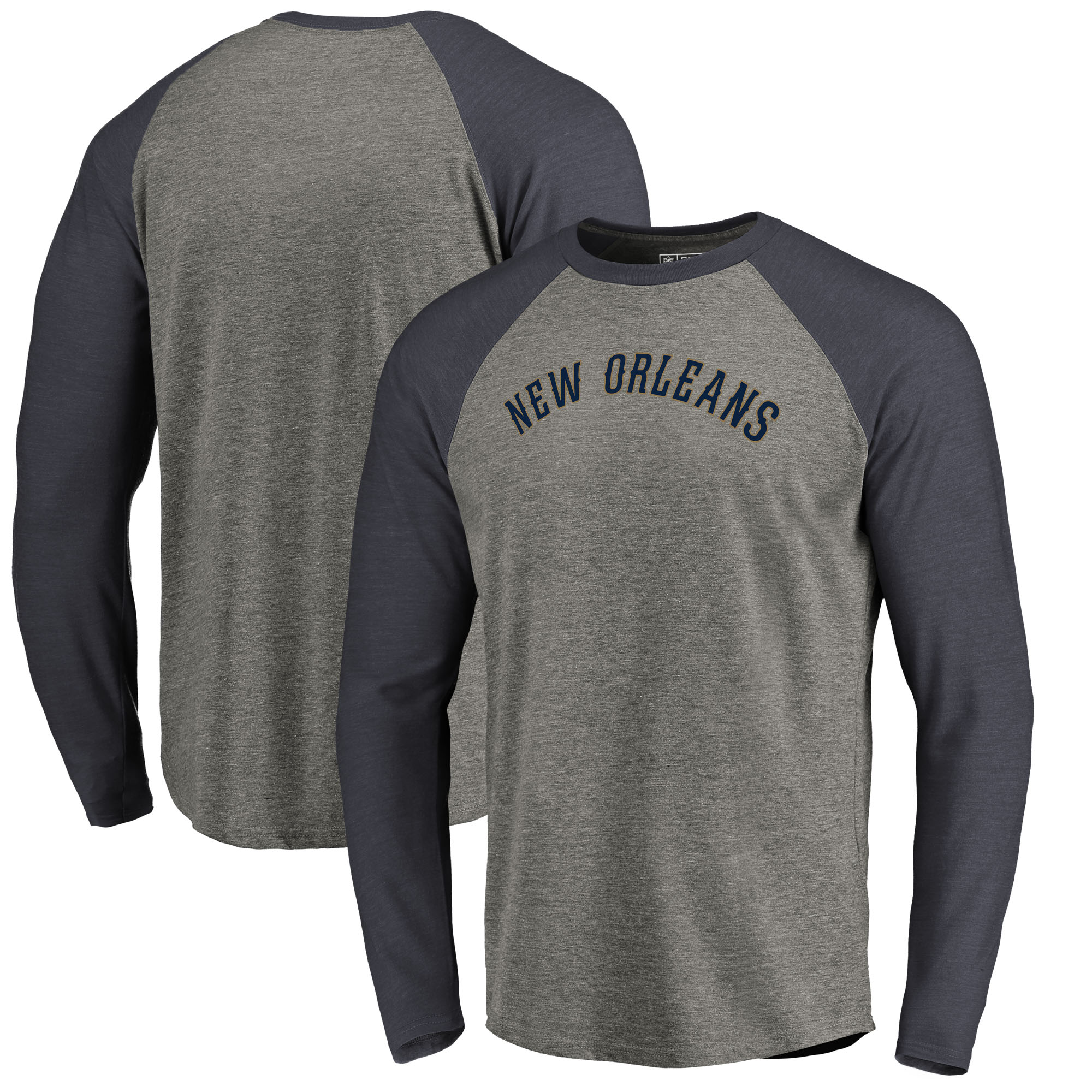 New Orleans Pelicans Fanatics Branded Primary Wordmark Tri-Blend Long Sleeve T-Shirt - Heathered Gray