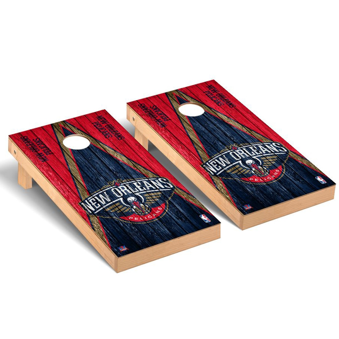 New Orleans Pelicans 2' x 4' Weathered Museum Cornhole Board Tailgate Toss Set