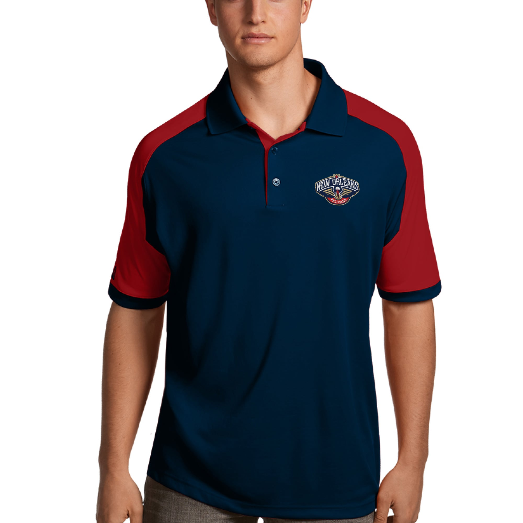 New Orleans Pelicans Antigua Century Performance Polo - Navy/Red
