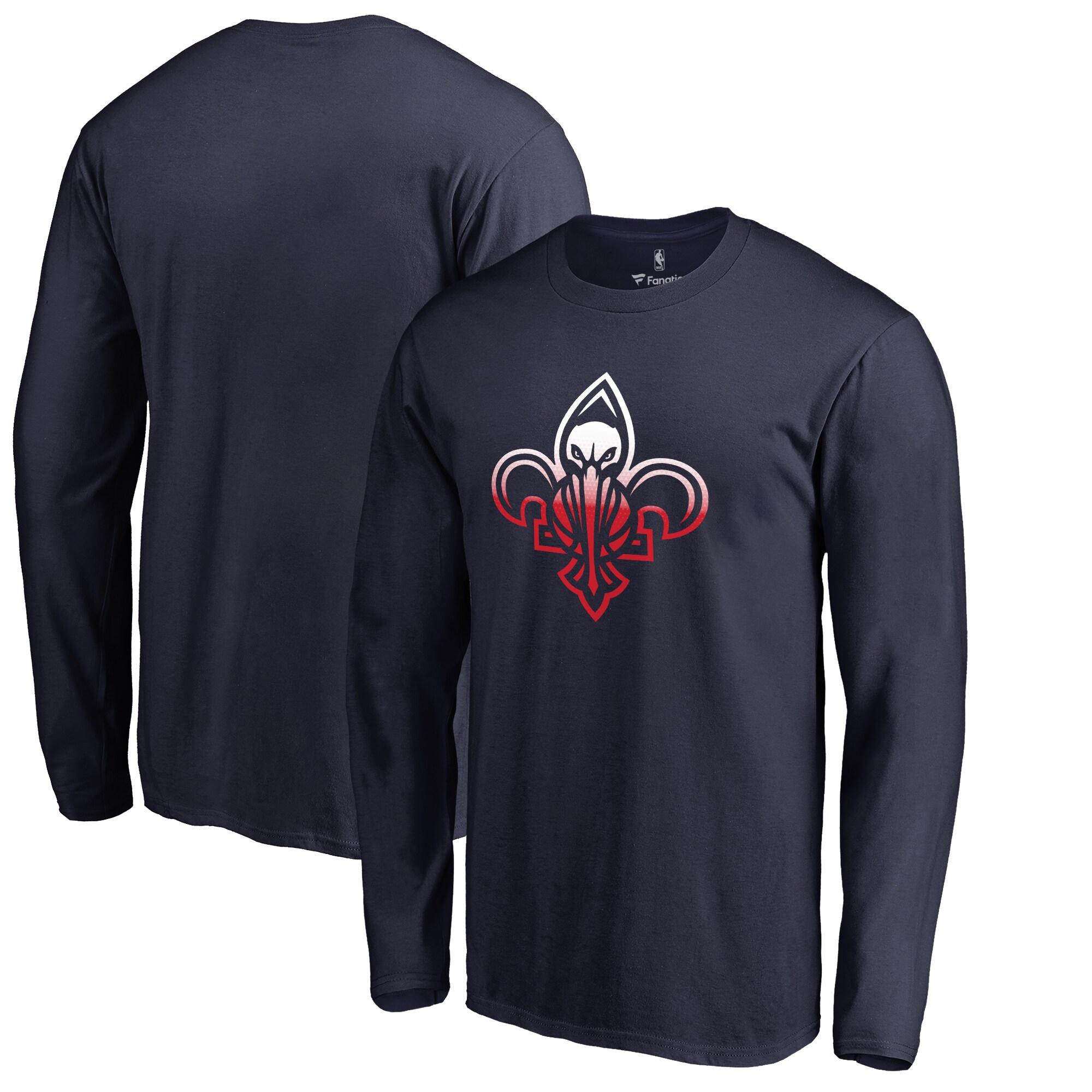New Orleans Pelicans Fanatics Branded Big & Tall Gradient Logo Long Sleeve T-Shirt - Navy