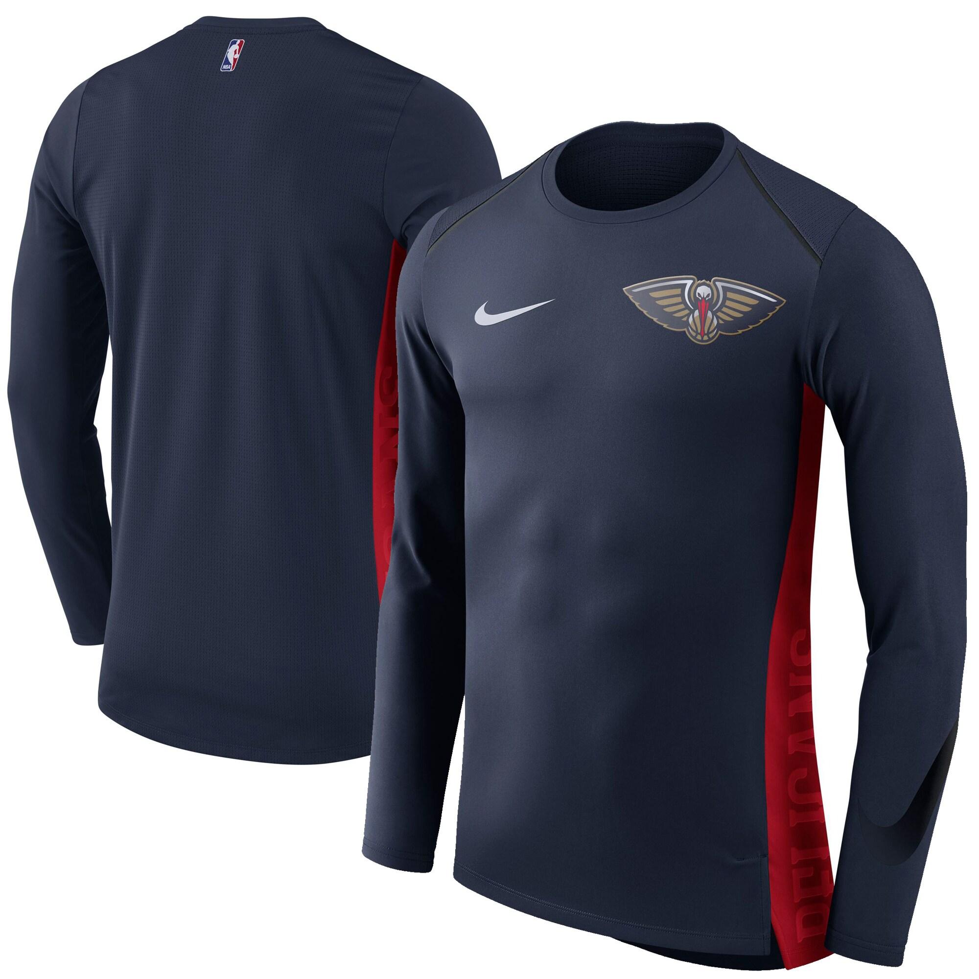 New Orleans Pelicans Nike Elite Shooter Performance Long Sleeve T-Shirt - Navy